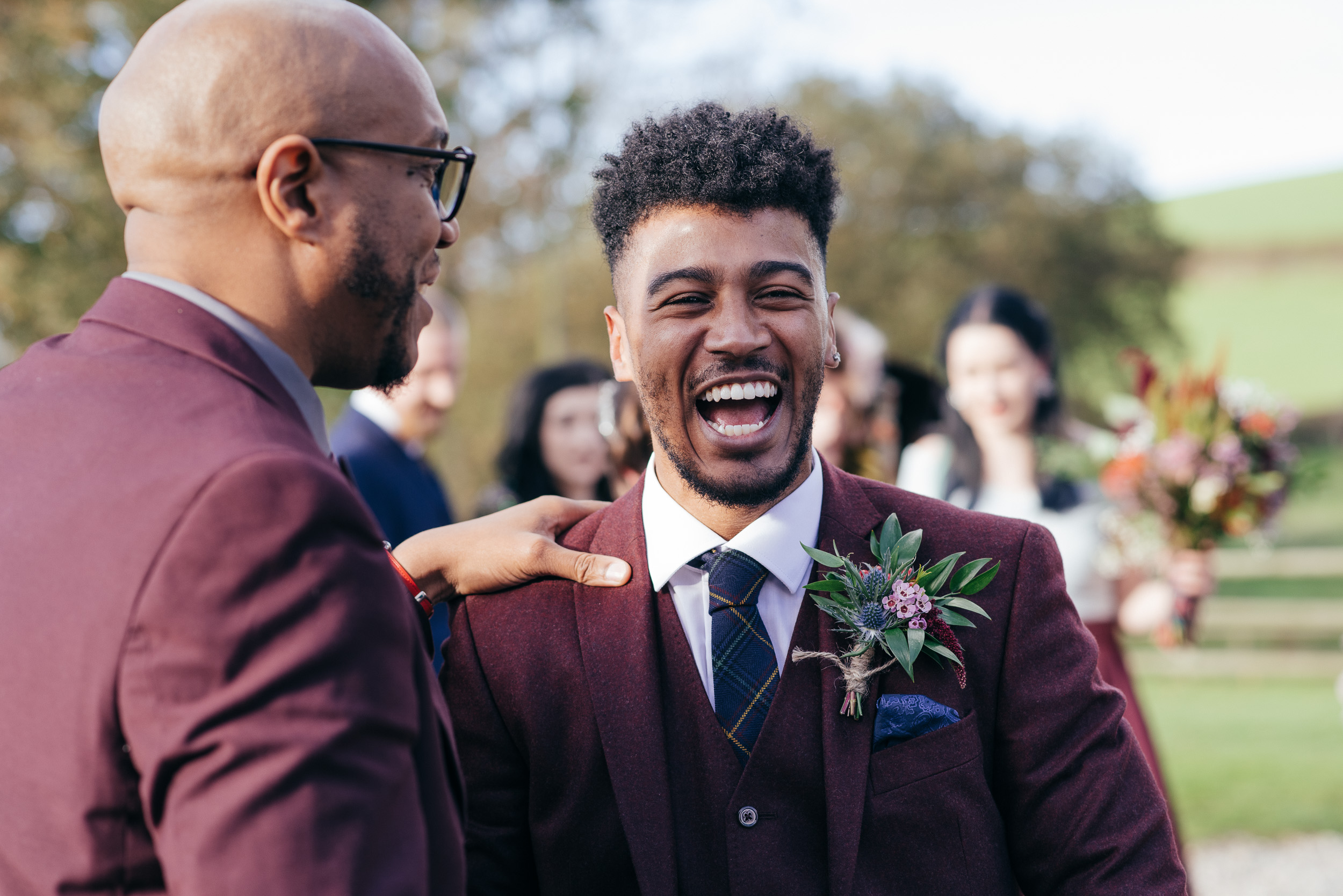 Groom laughter