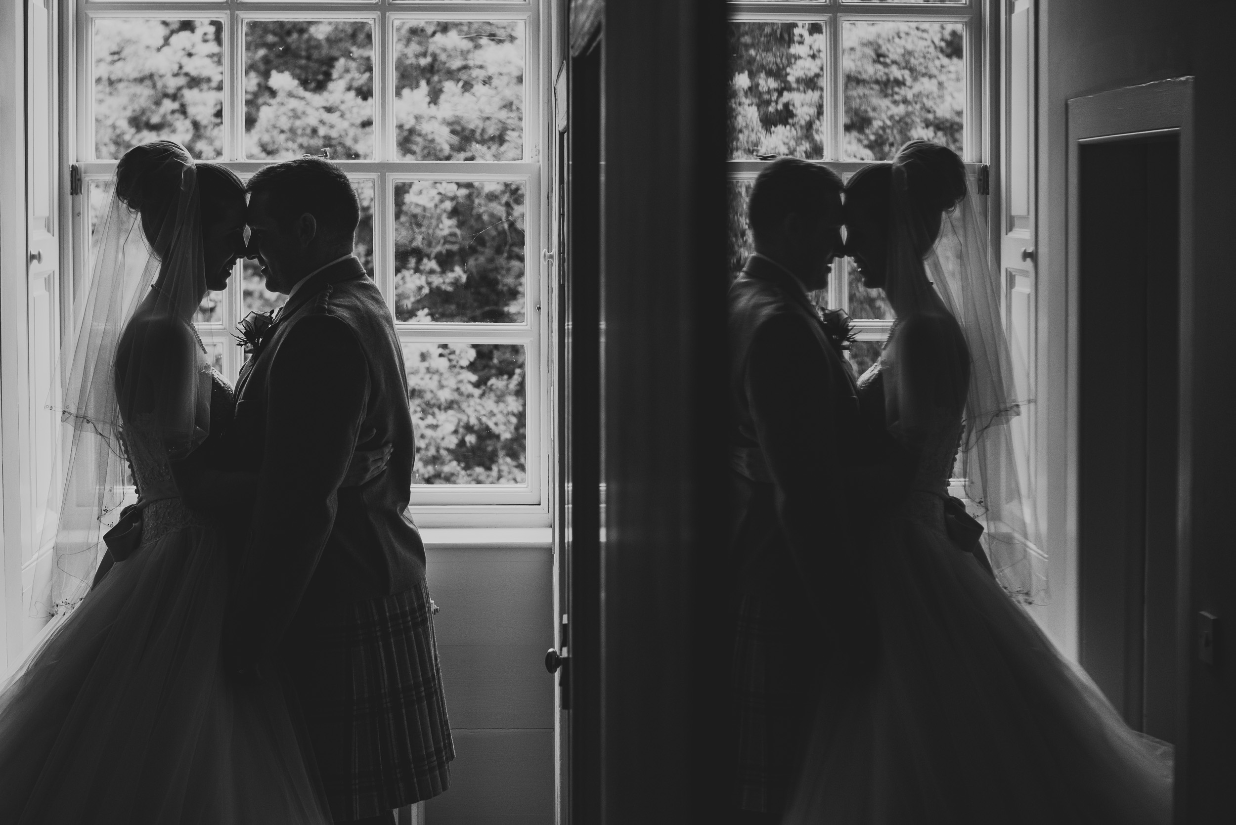 Black and white reflection wedding portrait