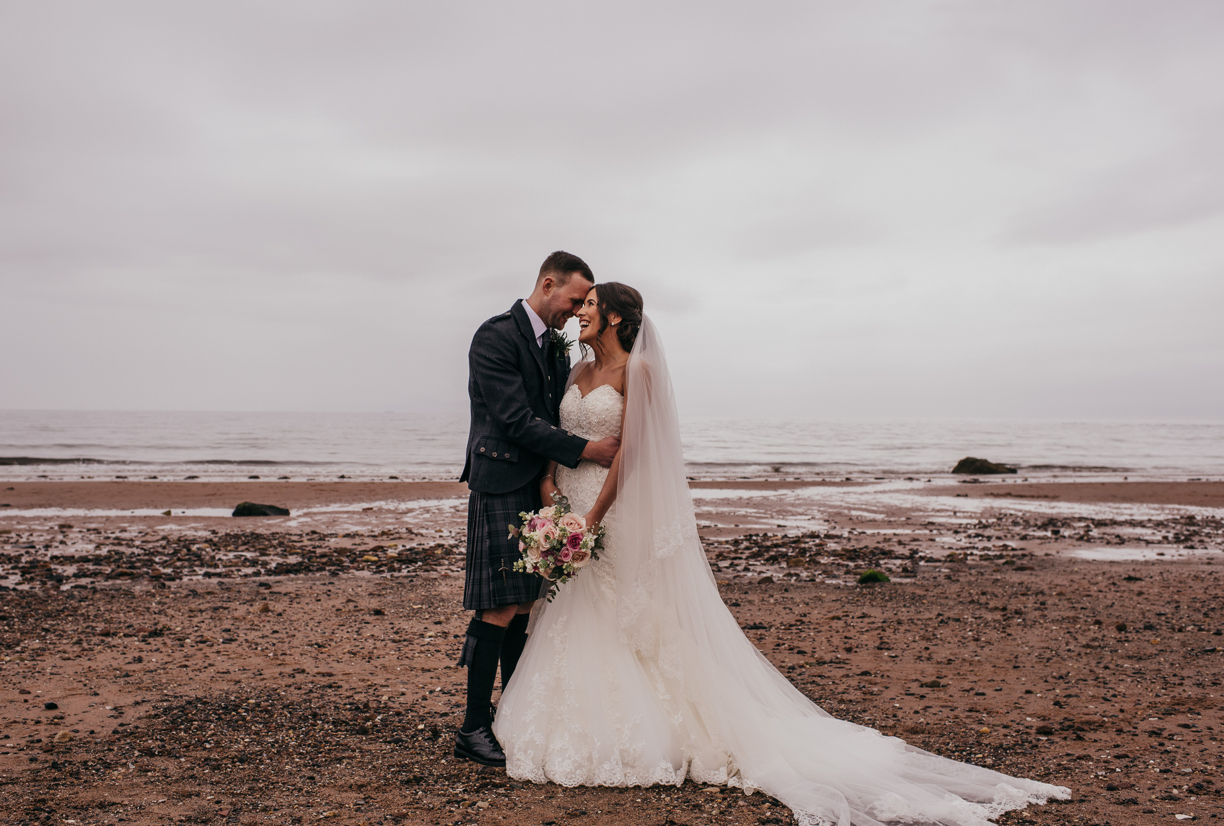 Bride and Groom on Seamill Beach