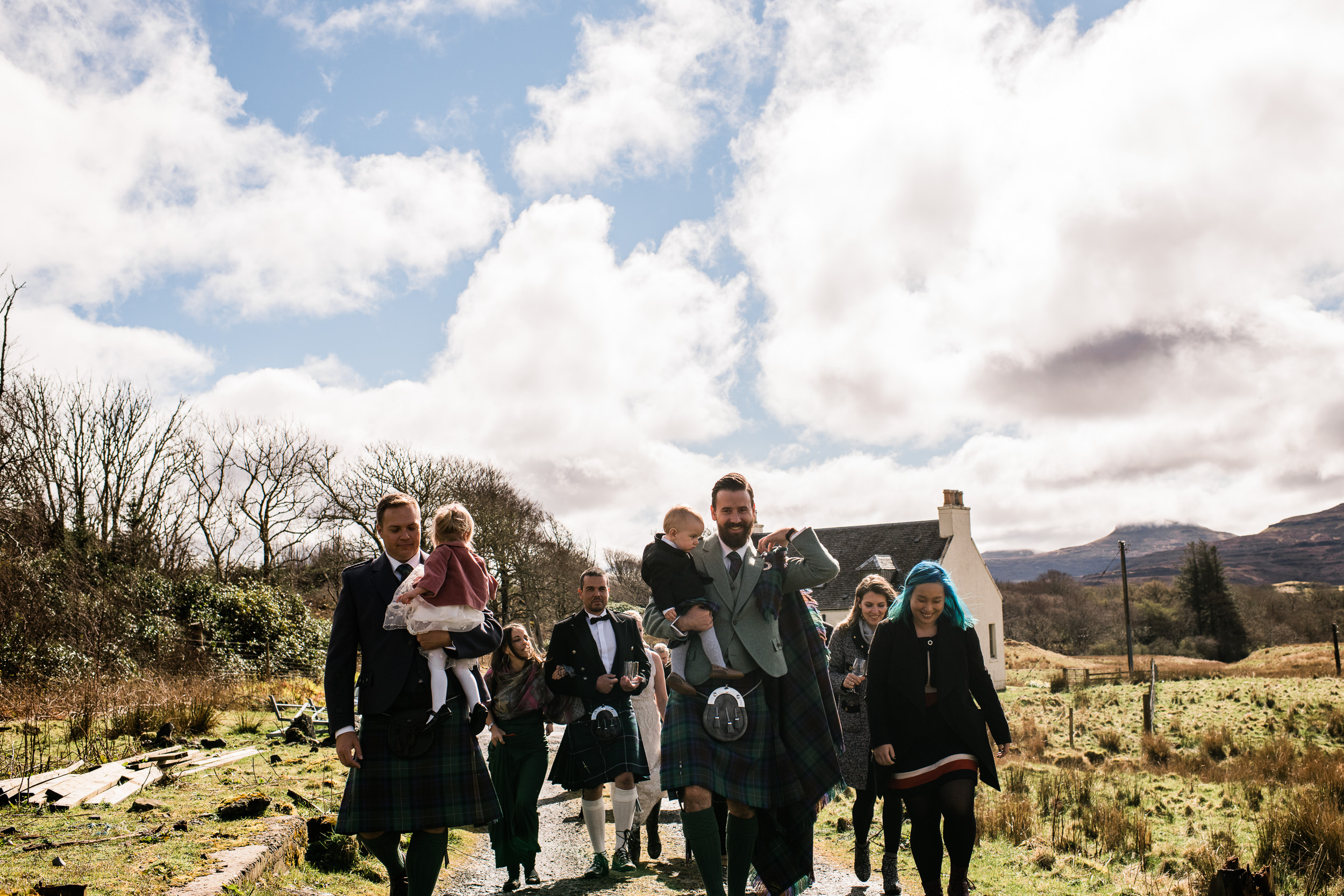 Wedding party hike to elopement