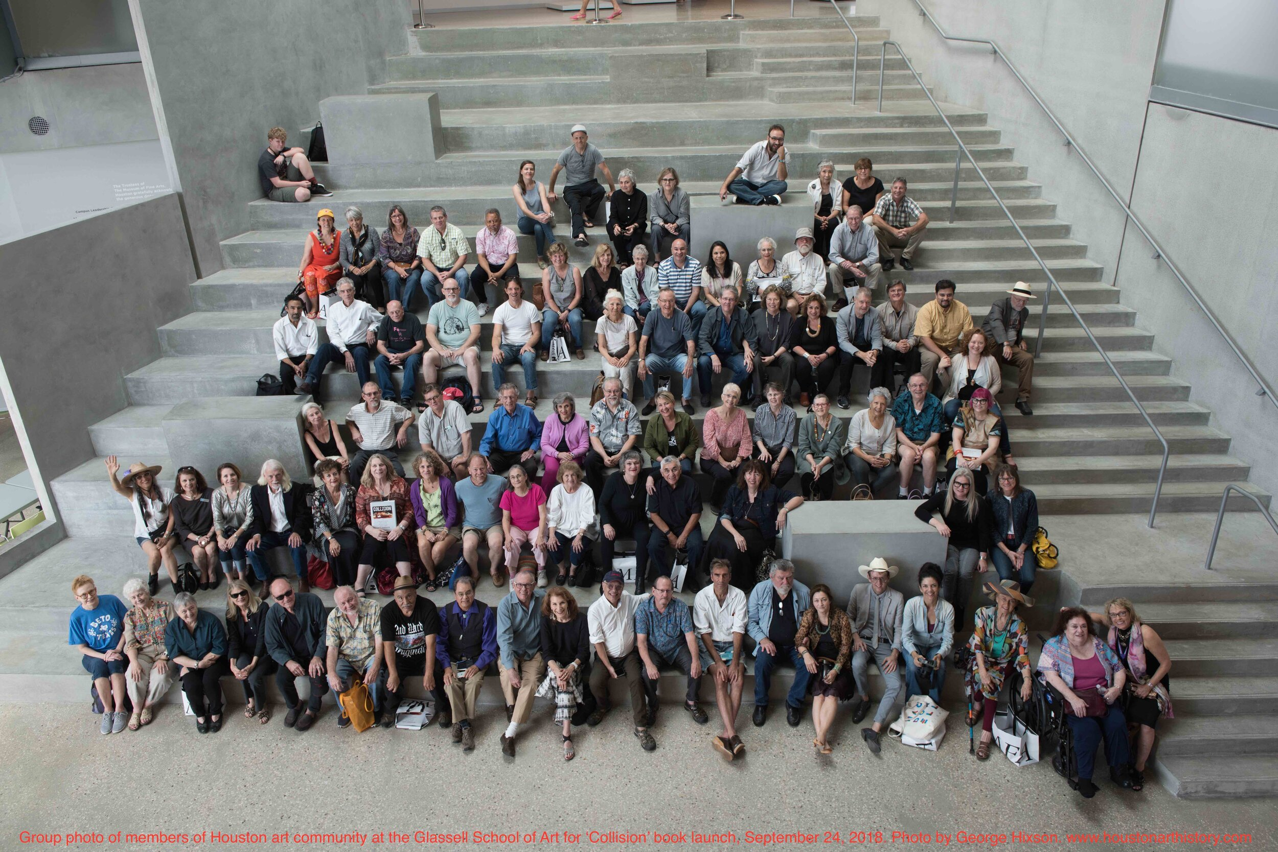 Group photo of Houston artists at  Collision  book launch, The Glassell School of Art, September 23, 2018. Photo by George Hixson.