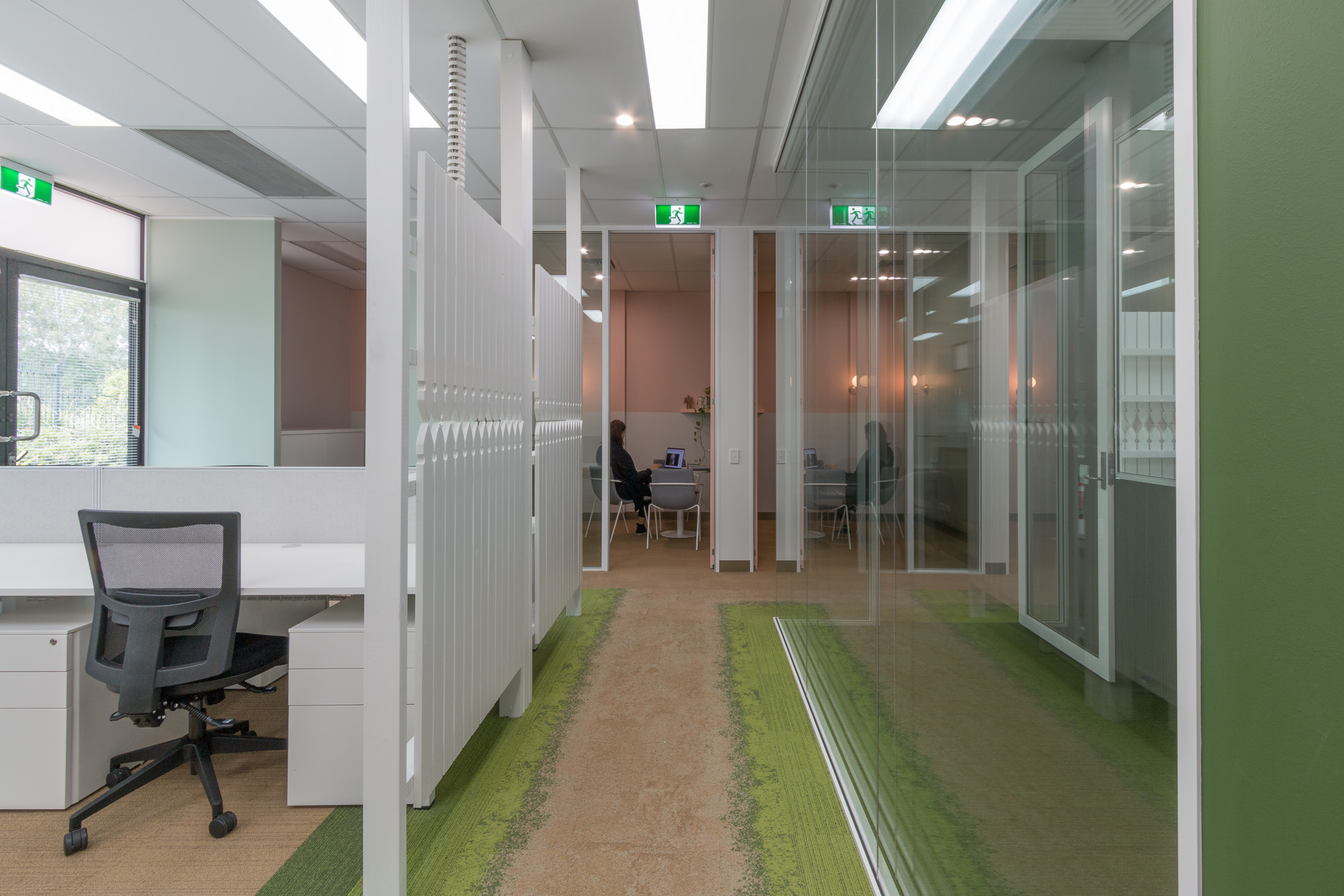 Workstation areas with timber picket privacy screens