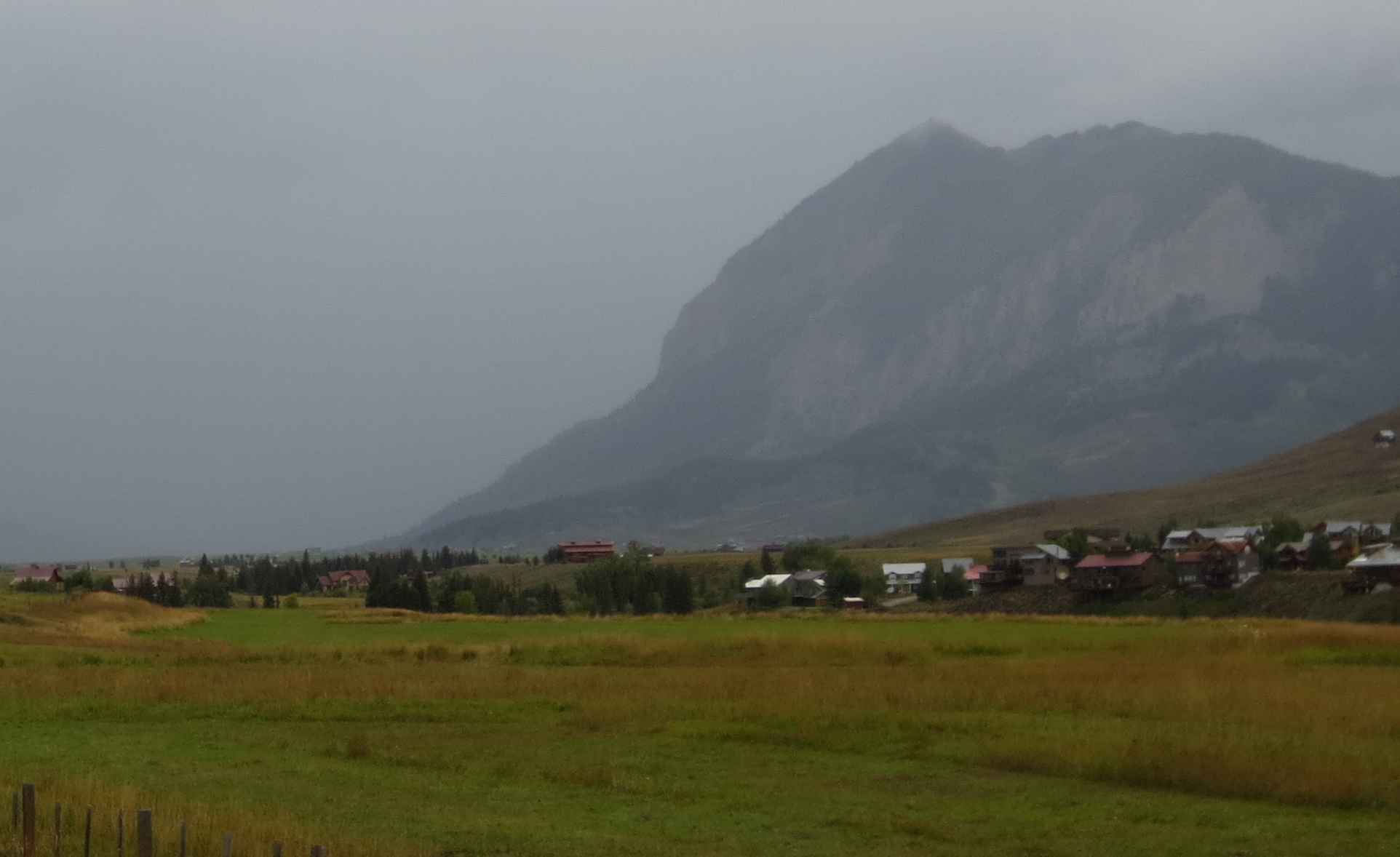 A stormy day on tour, riding into Crested Butte