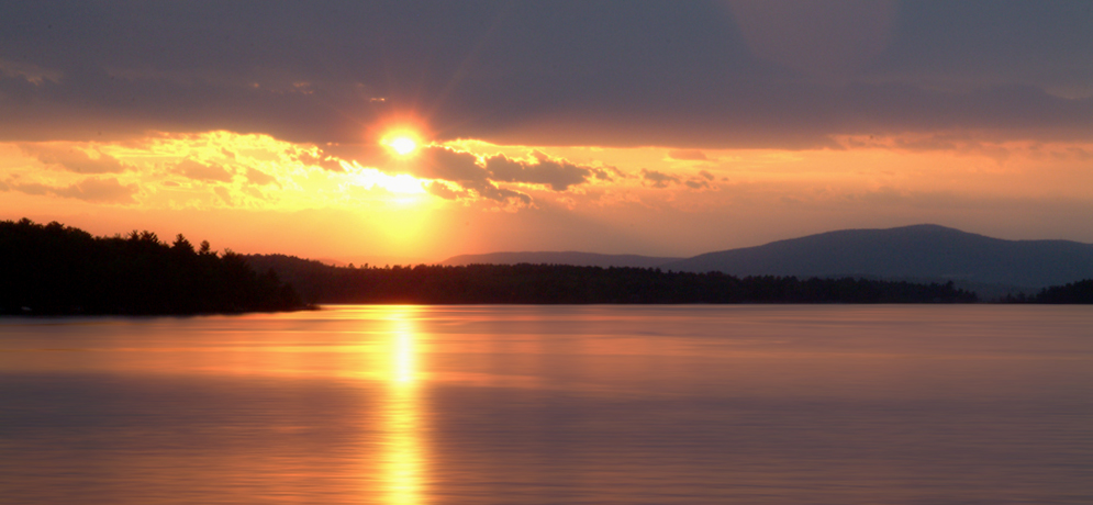 sunset over 19 Mile Bay, Wolfeboro, NH