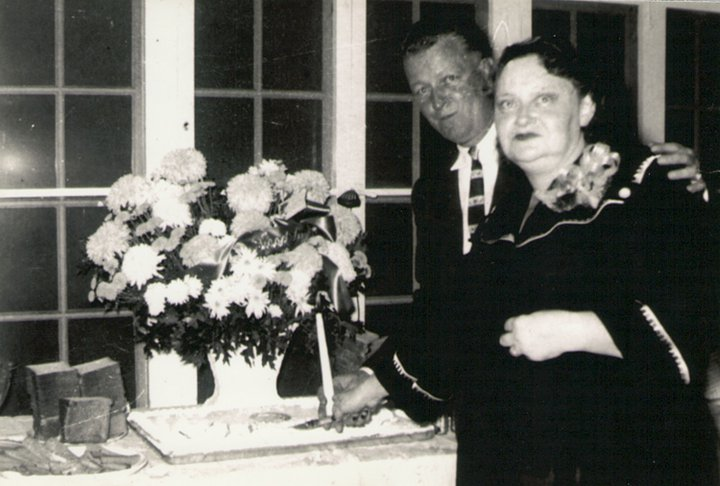 October 18, 1955, 25th wedding anniversary, Jack and Jeannette, dad and mom