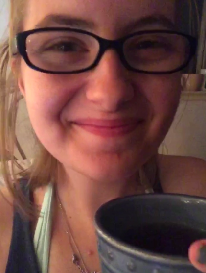 This is a very happy Claira who just got back from her first day of training and made herself some blueberry tea to celebrate.