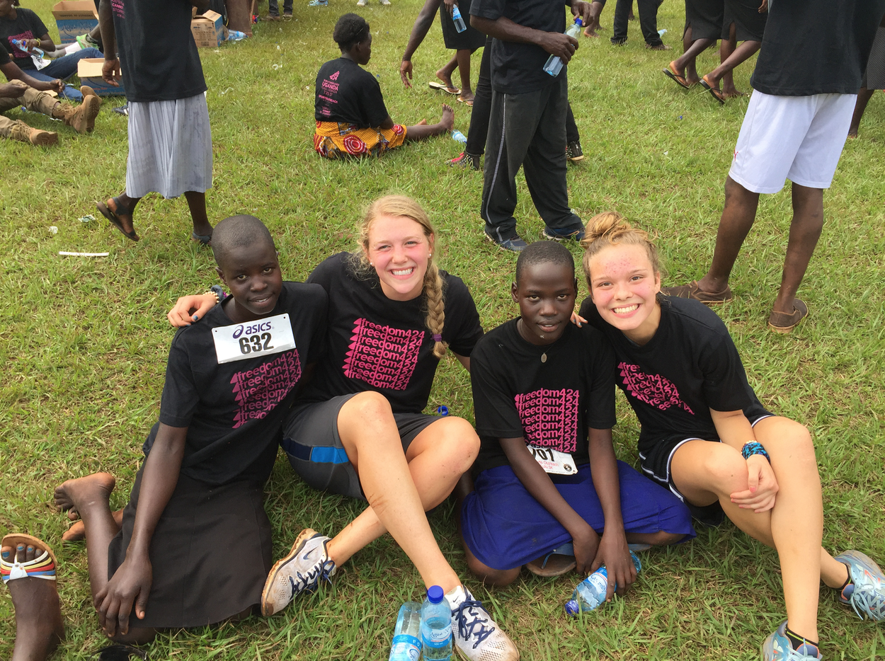 Another trip member Grace Hildebrand and I with Constance and her friend who also ran in Run 4 Their Lives Uganda.