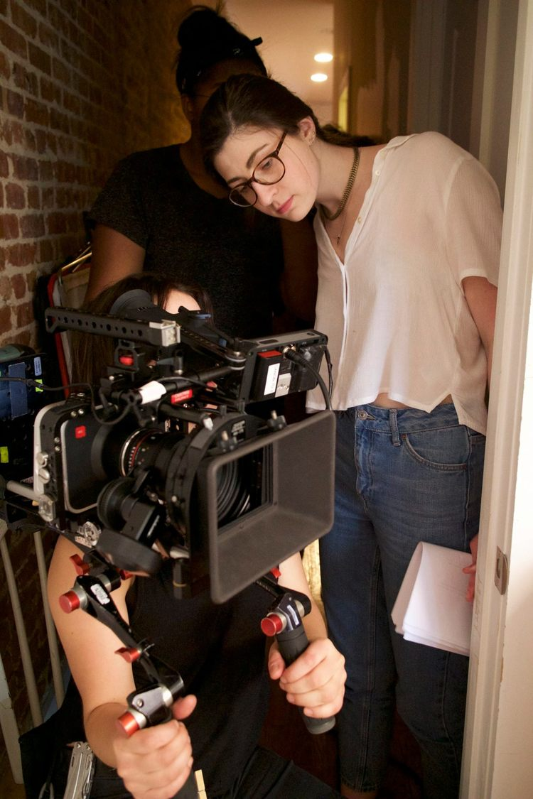 Lauren Friedman (director),Laura Hilliard (cinematographer), and Nayla Davis (first AC)on the set of  Jess & Lily