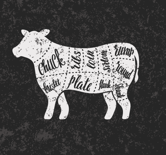 A side of beef includes two sections: The front and hind quarter. The front quarter includes the chuck, the ribs, and the brisket. The hind quarter includes the loin (where most steaks come from), the round (also known as the rump), and the flank, which is the lower middle section of the cow.