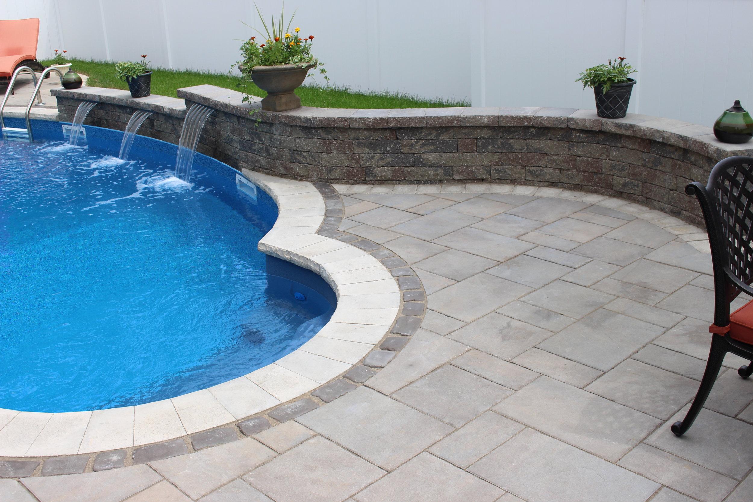 custom swimming pool waterfall long Island, NY