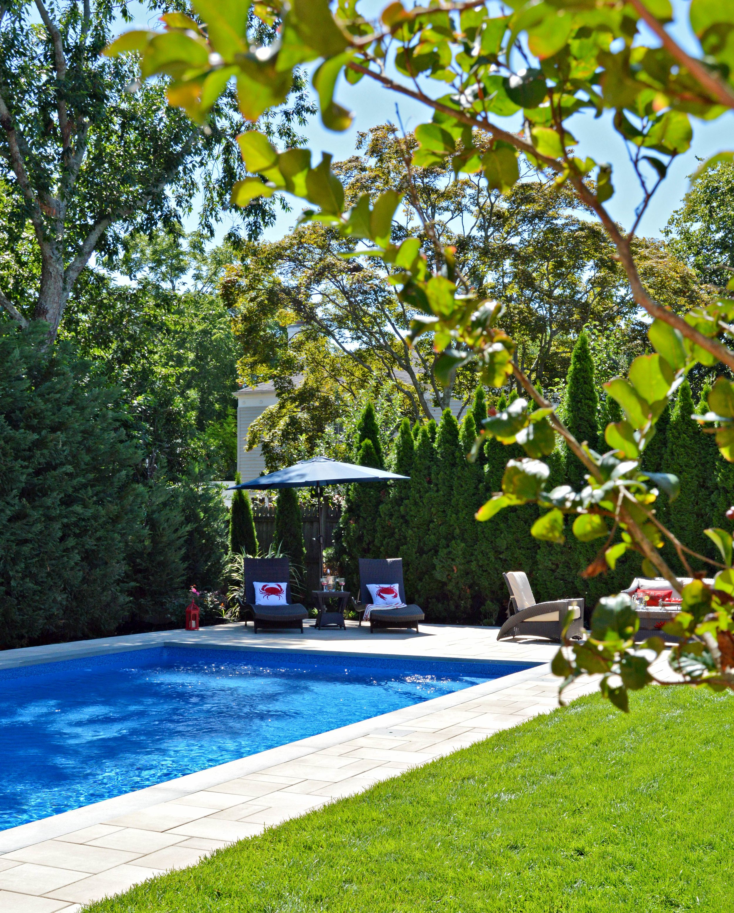 Landscape design with poolside in Huntington NY