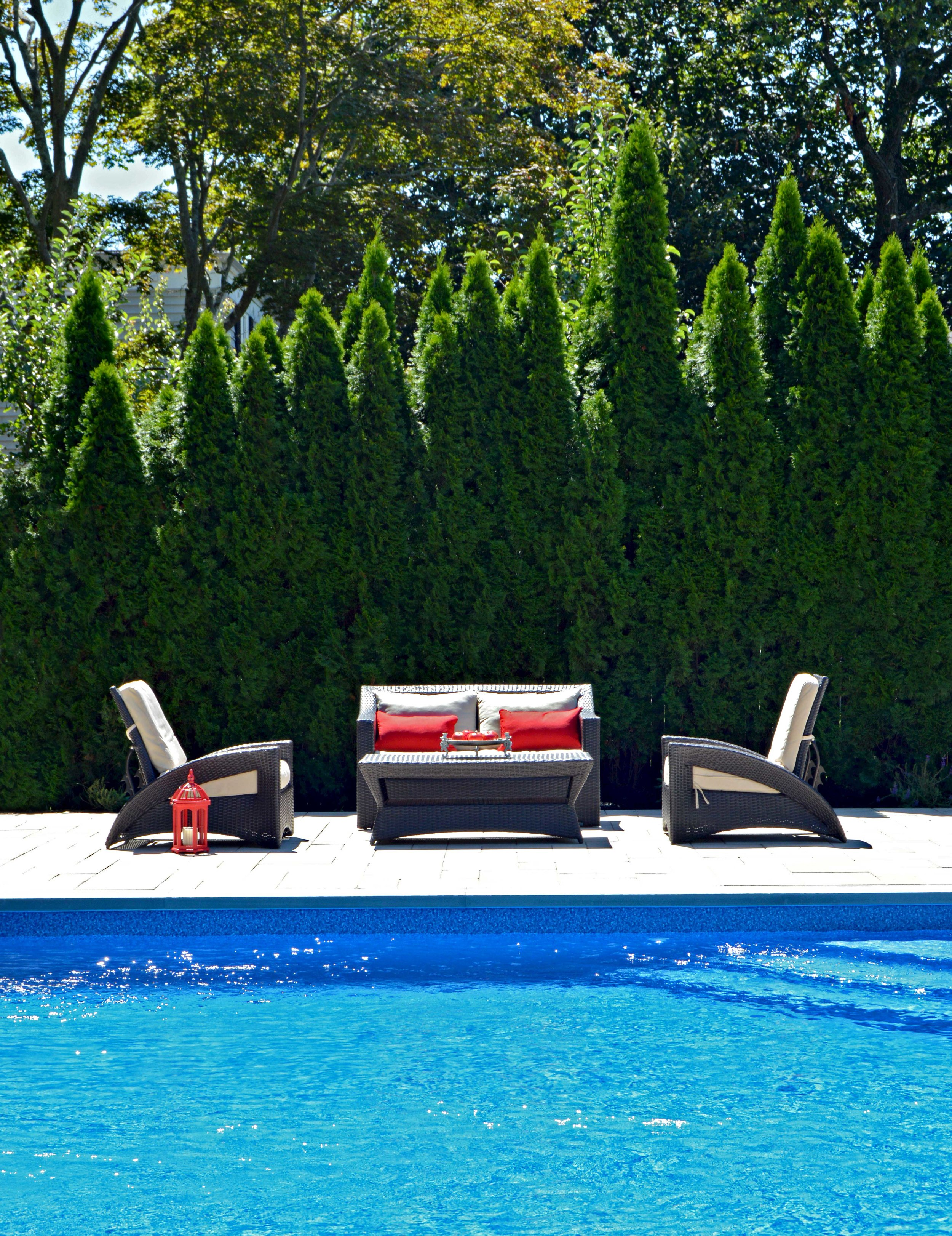 Babylon, NY swimming pool patio and couch contemporary style