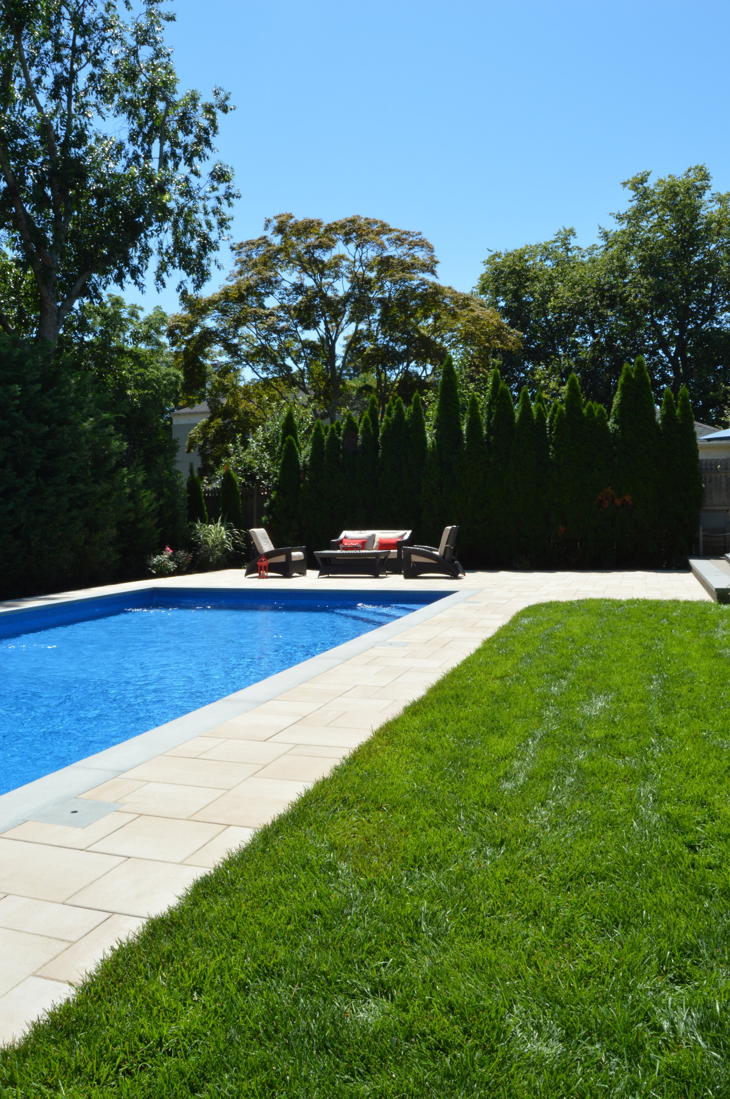 Babylon, NY modern swimming pool patio and landscape design