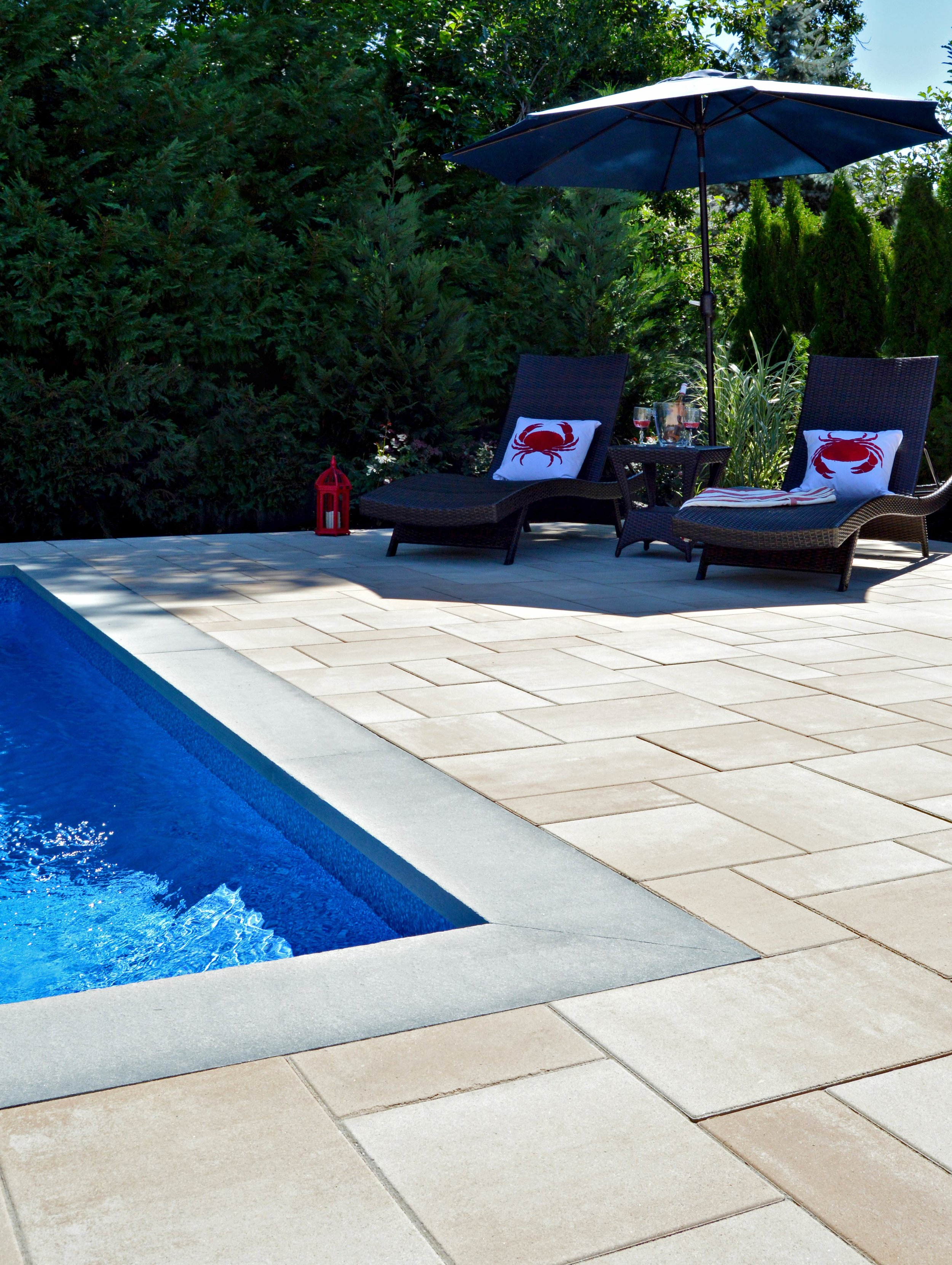 Babylon, NY swimming pool patio, landscape design, and couch contemporary style