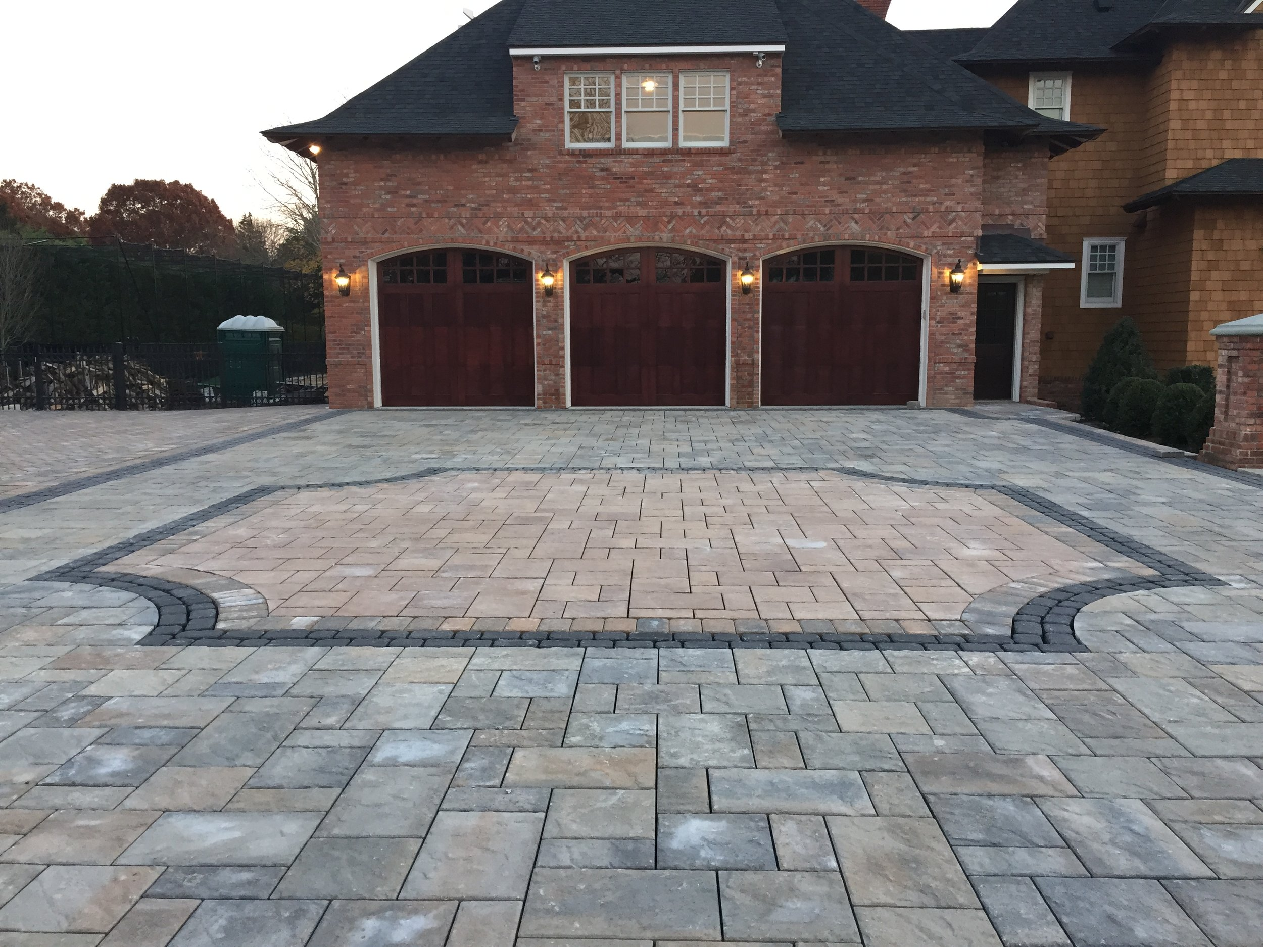 3 car driveway with concrete pavesr in Long Island, NY