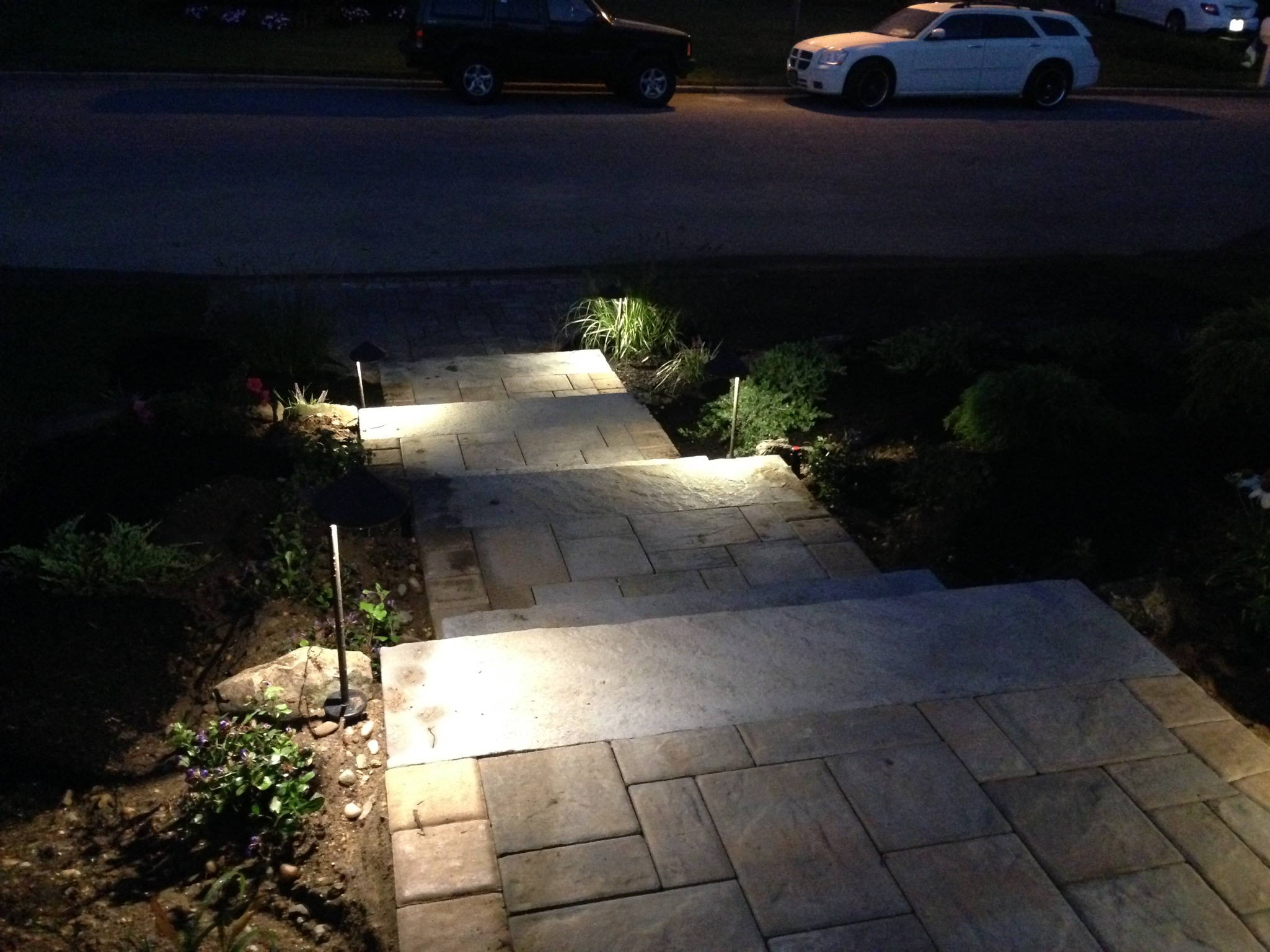 Smithtown, NY outdoor lighting on steps