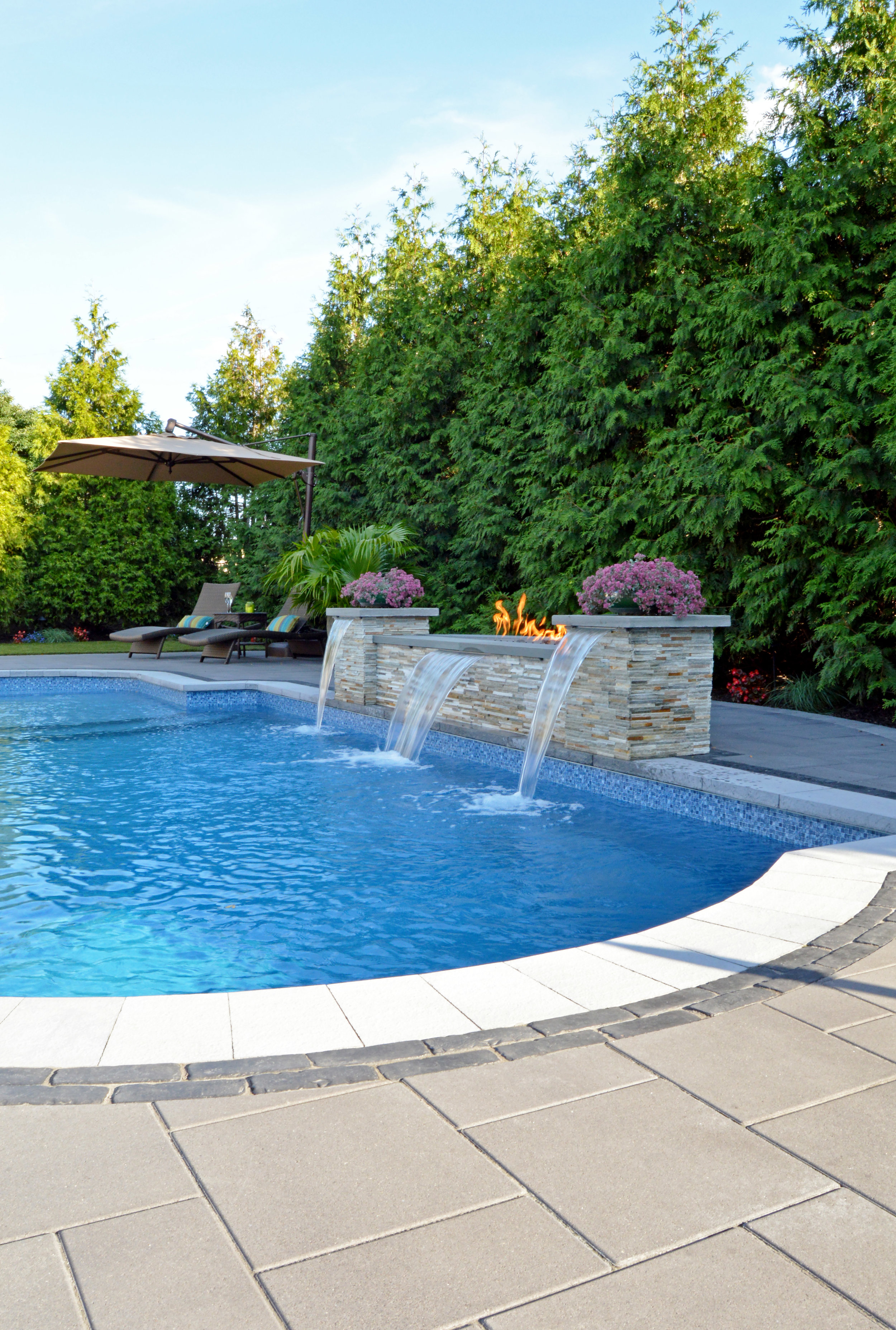 hicksville, NY fire feature, swimming pool, and patio