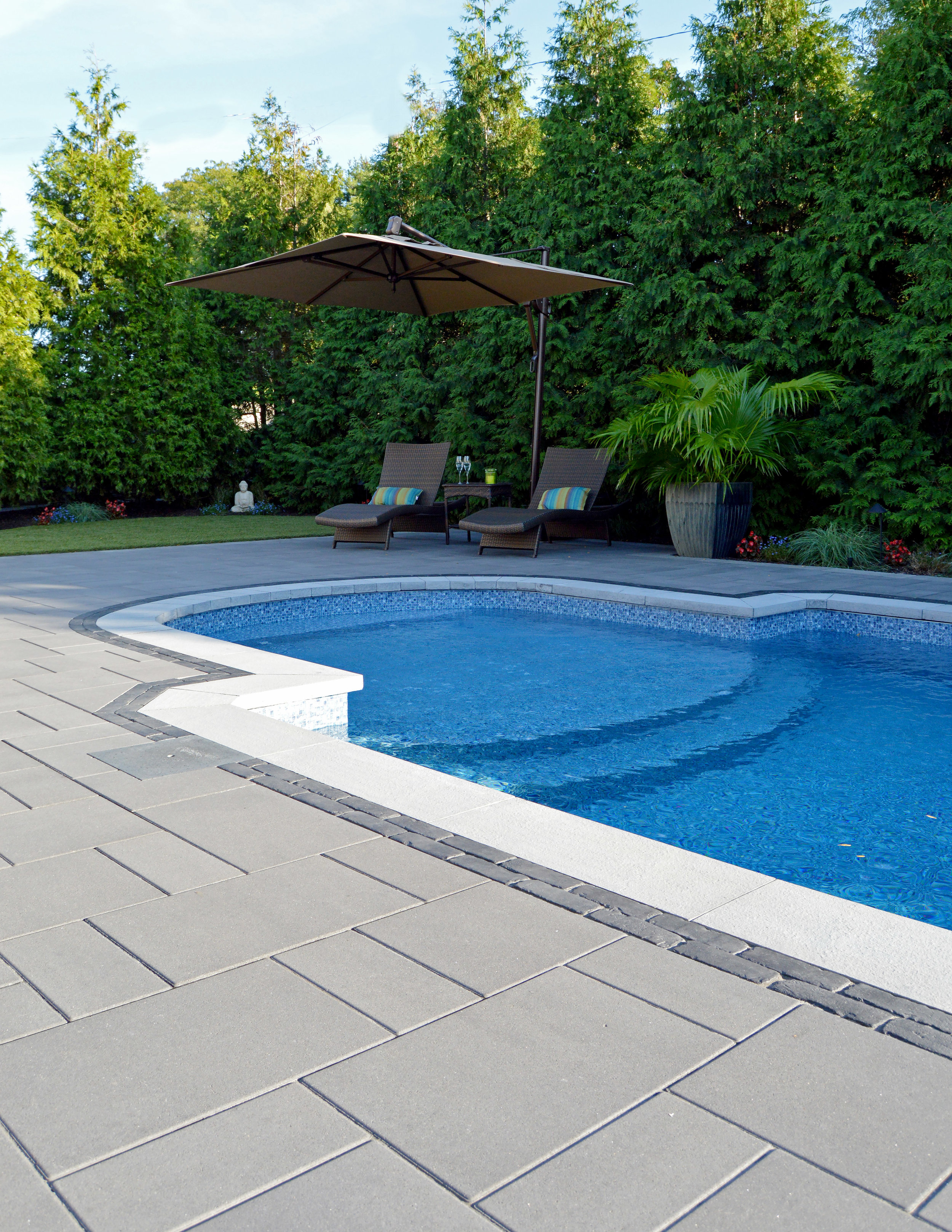 hicksville, NY swimming pool and patio landscape design project