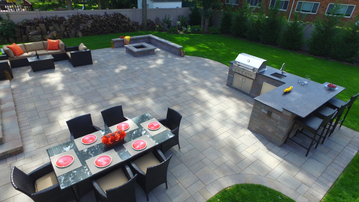 Nesconset, NY patio project with outdoor kitchen