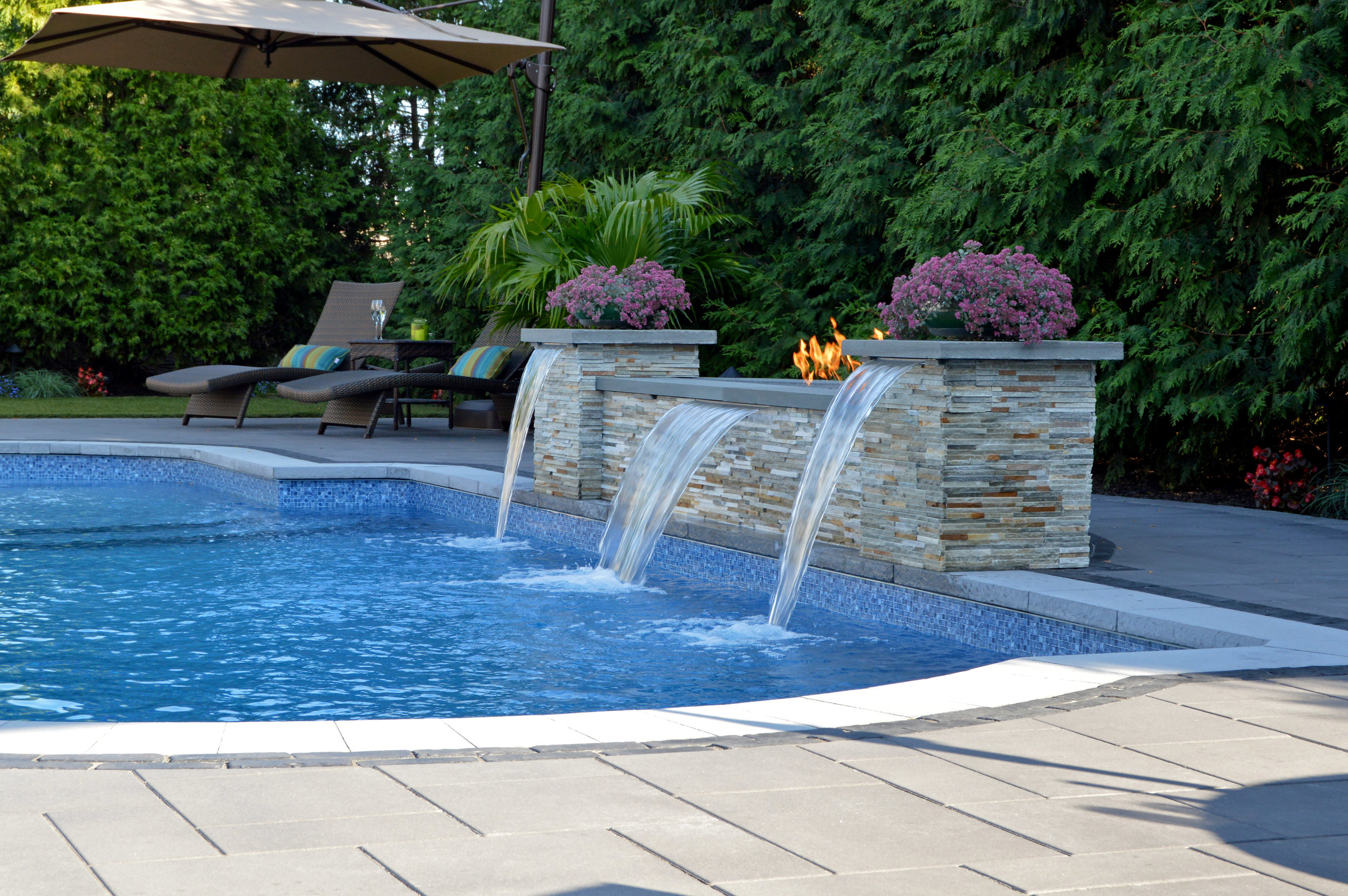 Backyard designs with water feature in Huntington NY