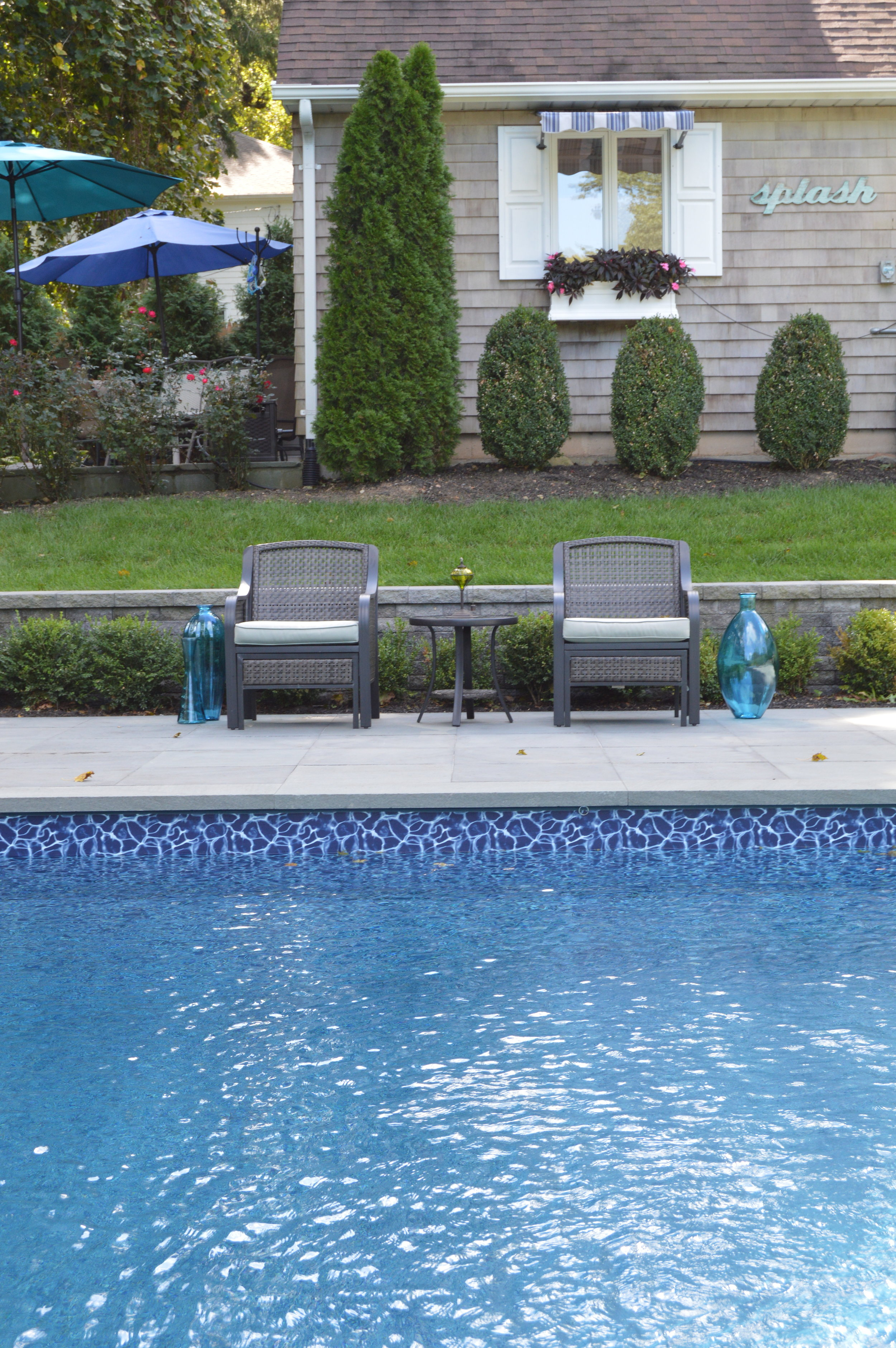 paver patio and swimming pool modern steps Northport, NY