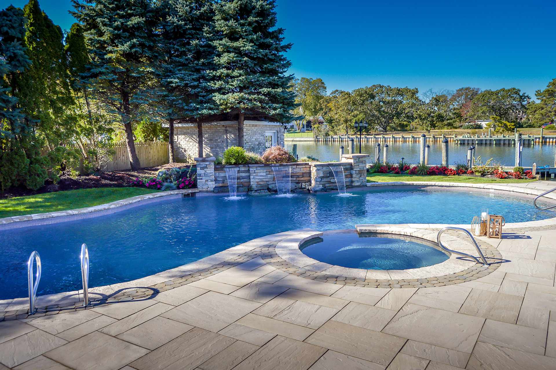Smithtown, NY patio with a pool