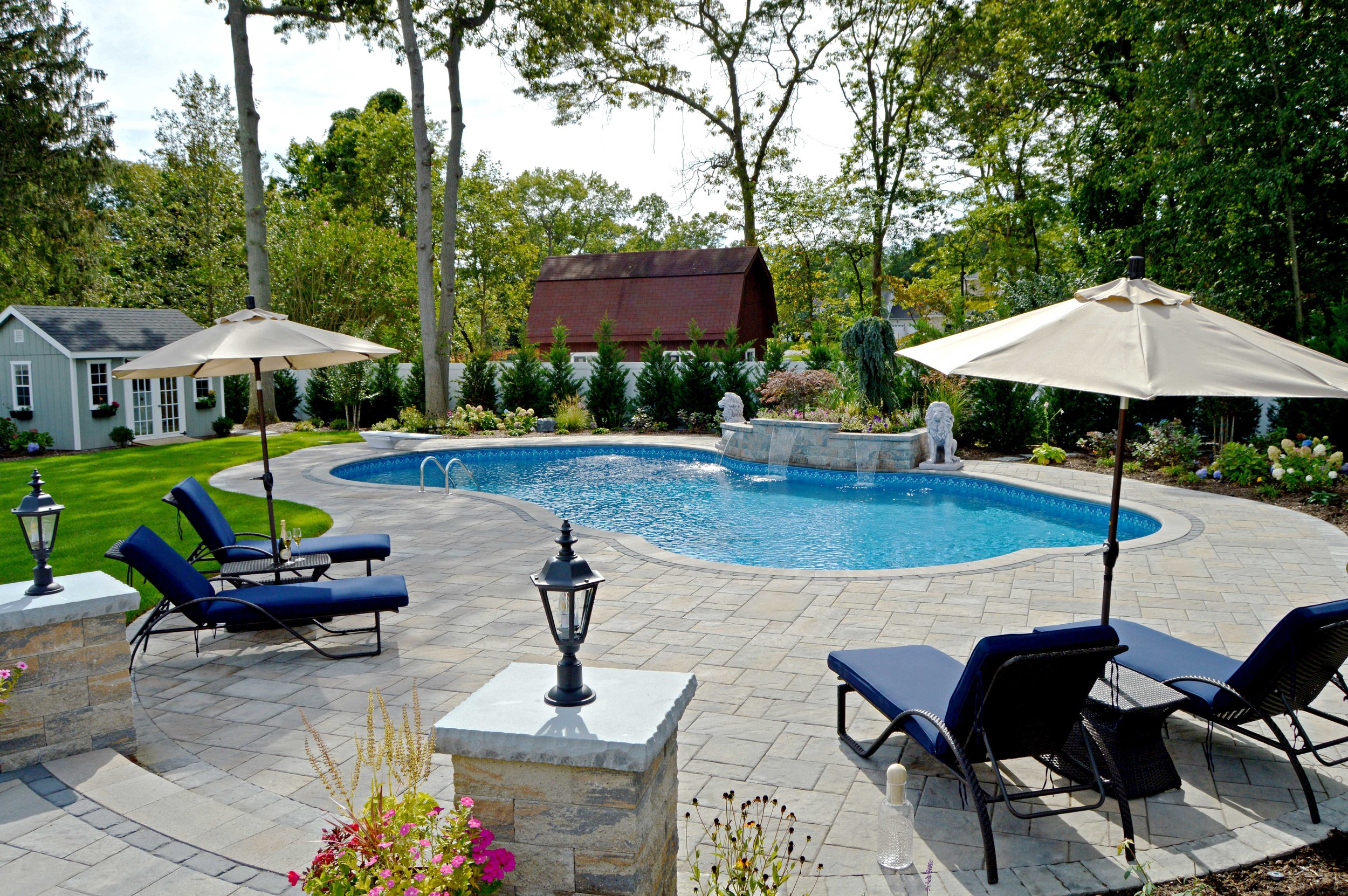 Lounging on a poolside patio in Smithtown, NY