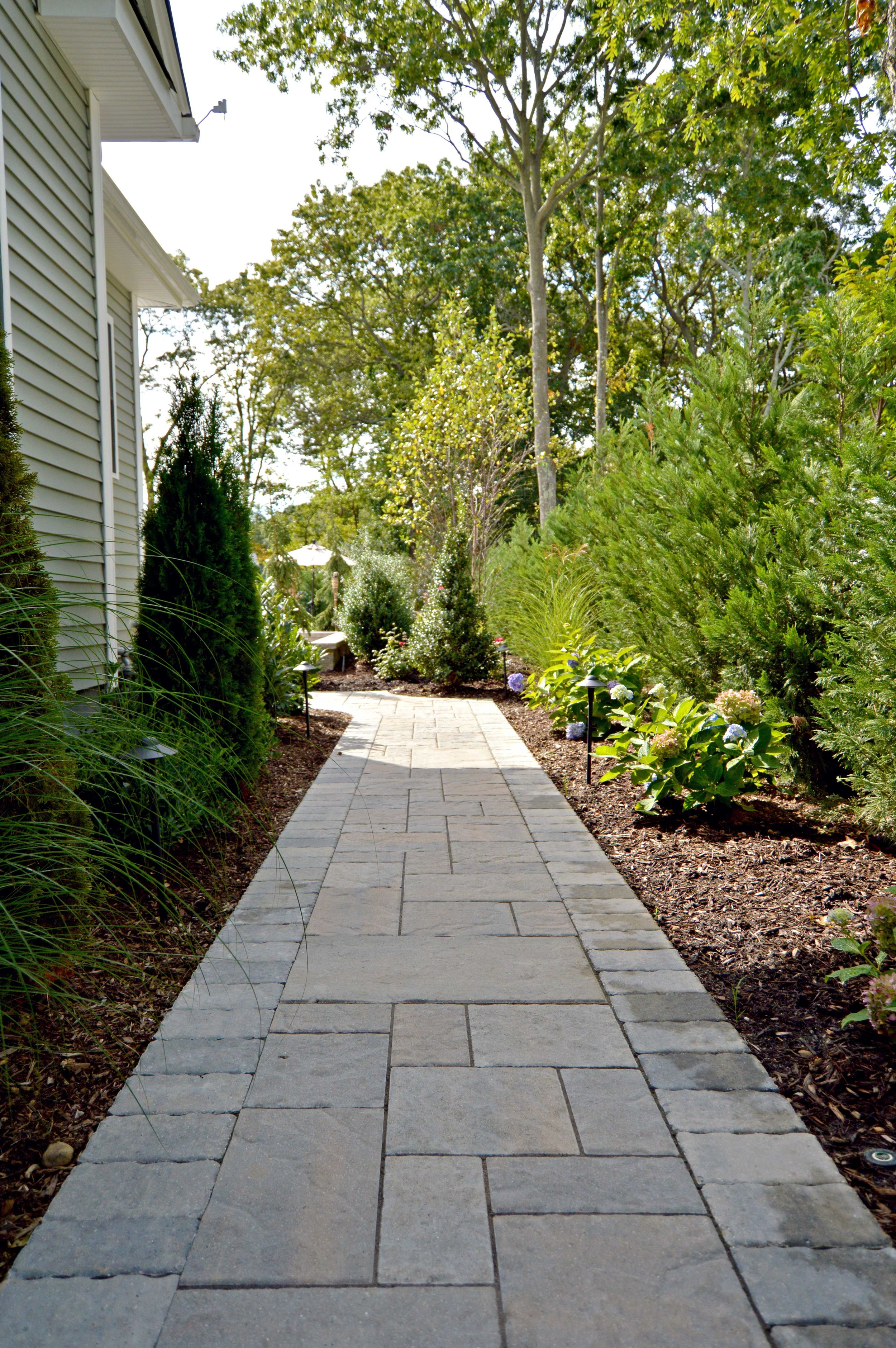 front entrance, walkway, and landscape design in Long Island, NY