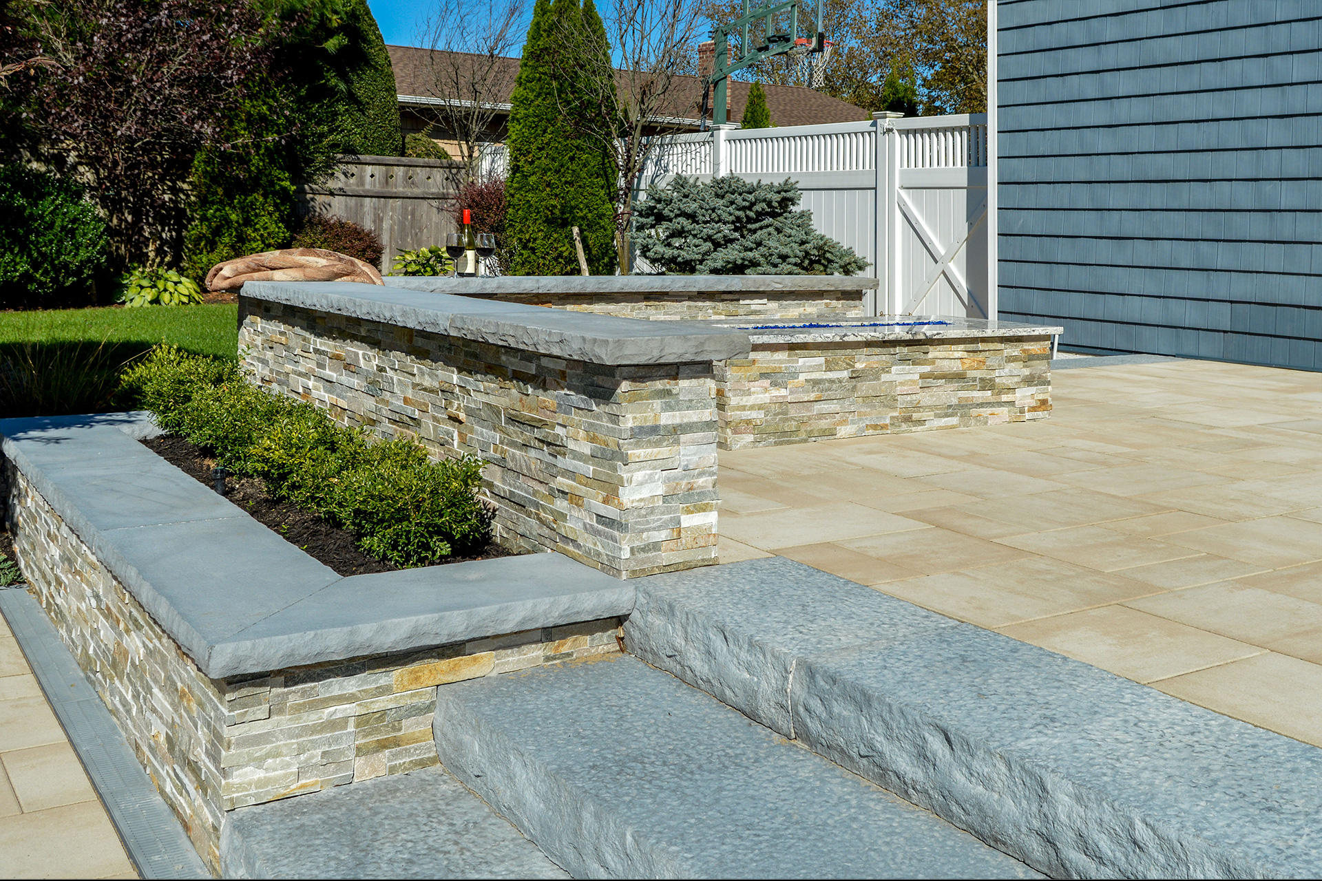 Retaining and seating wall design in Long Island, NY