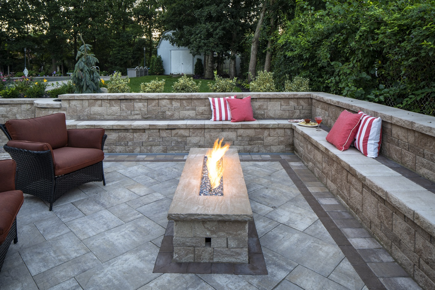 Stunning outdoor fireplace in Long Island, NY