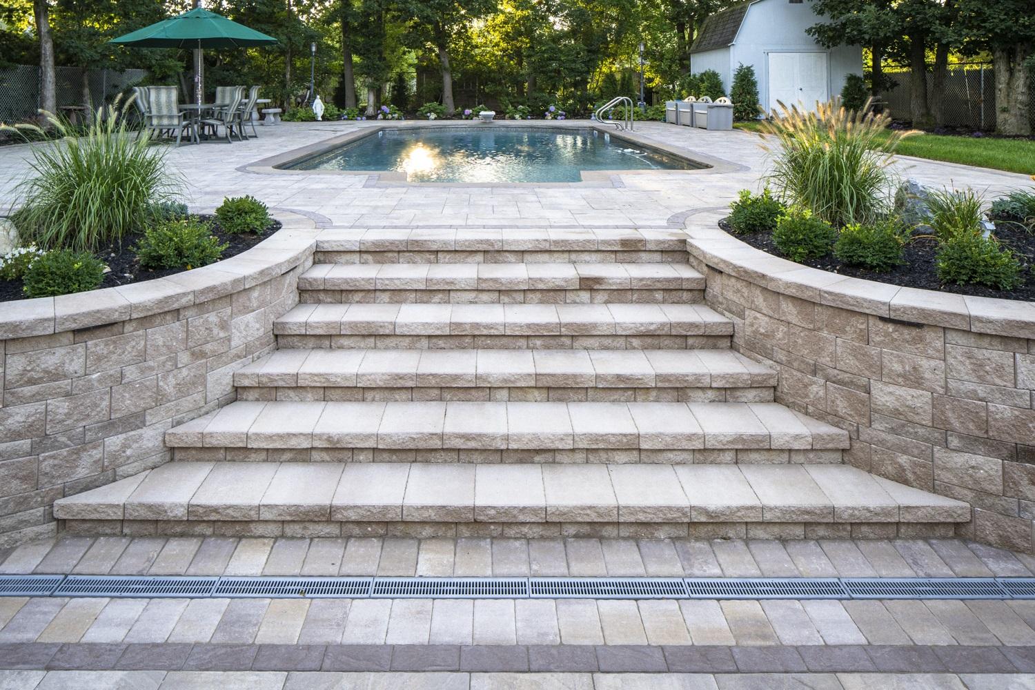 Landscape design with swimming pool in Melville NY