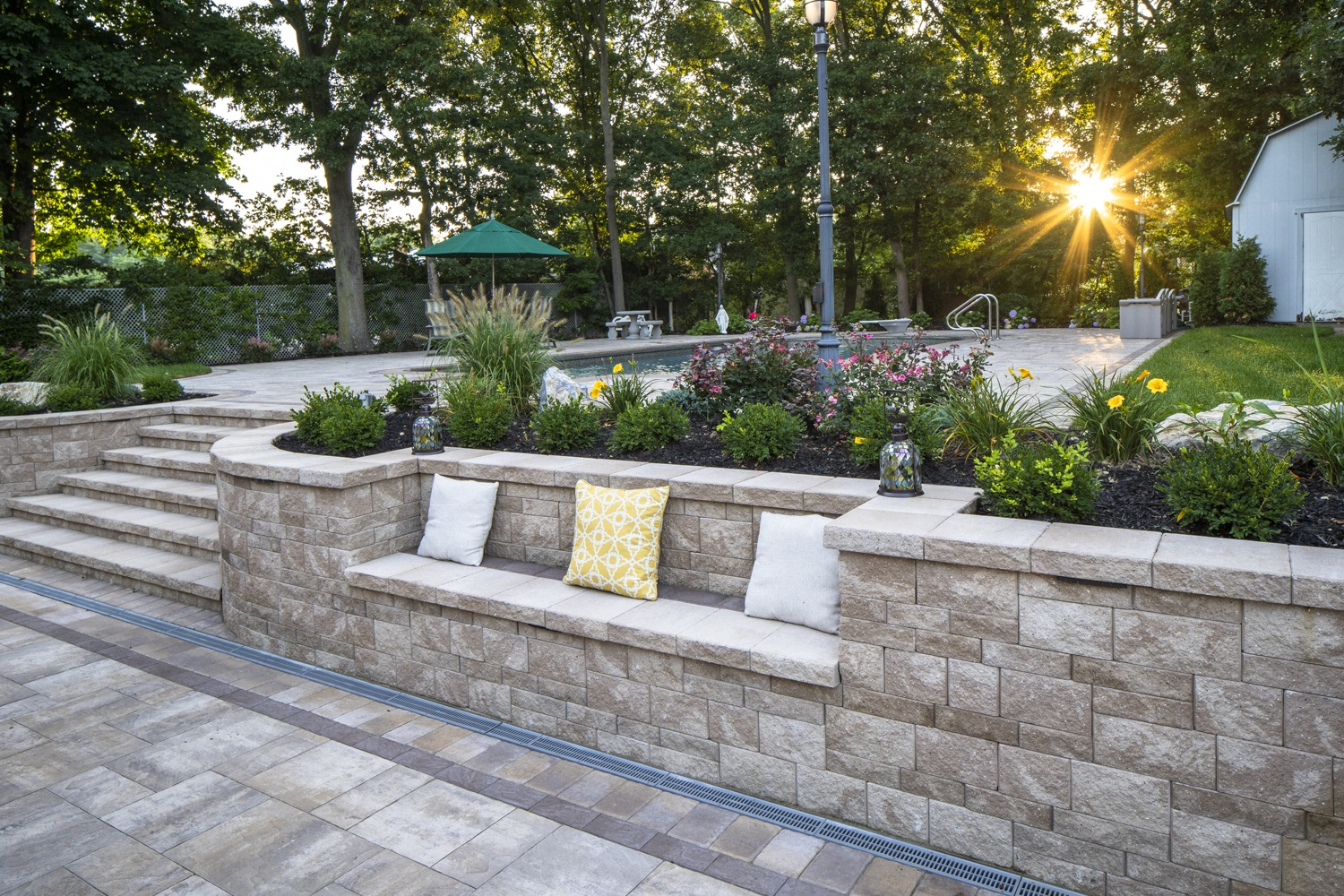Landscape design in Glen Cove, NY with swimming pool