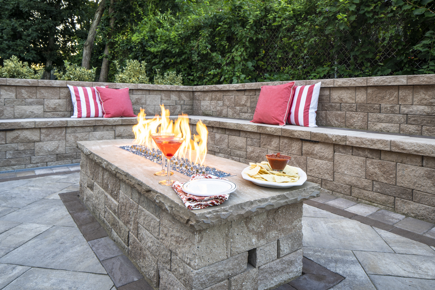 Modern outdoor fireplace in Commack NY