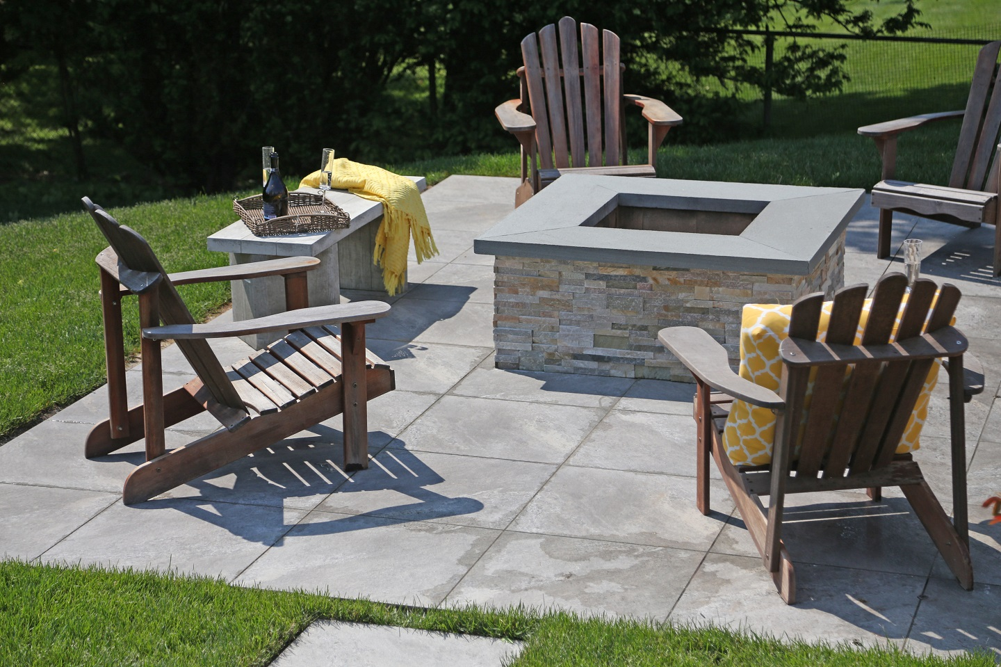 New outdoor fireplace in Huntington NY