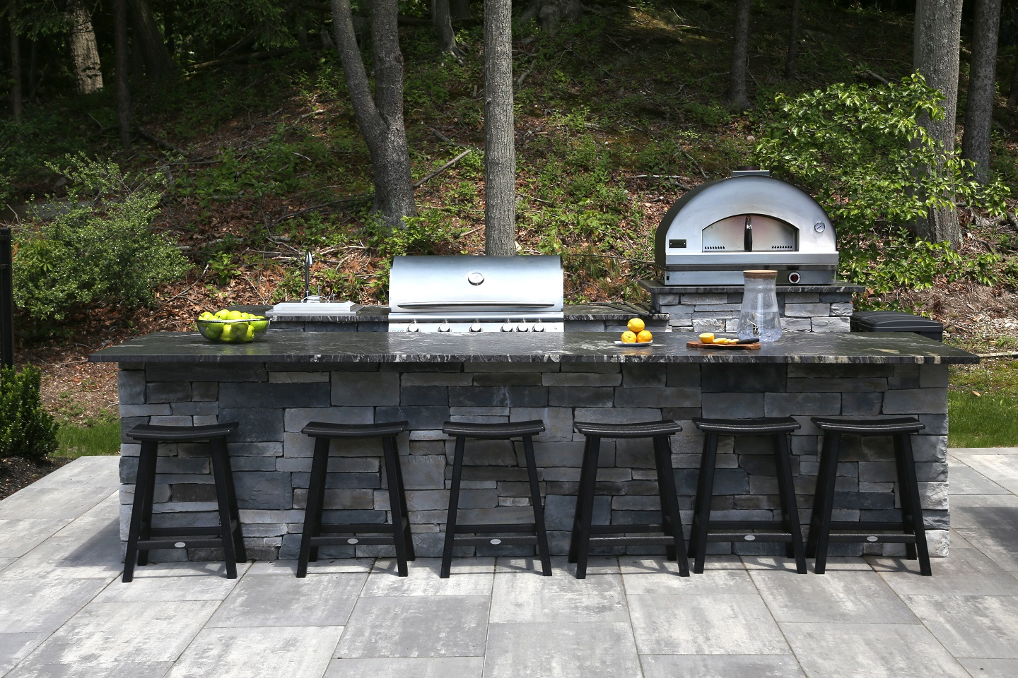 Landscape design with outdoor kitchen in Commack NY
