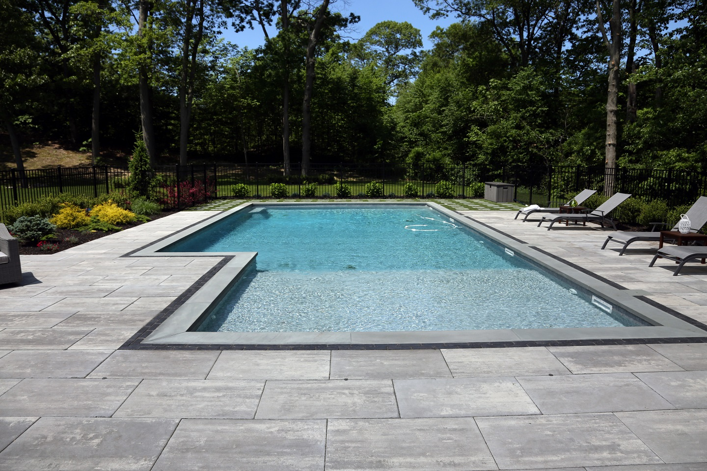 Patios with swimming pool in Commack, New York