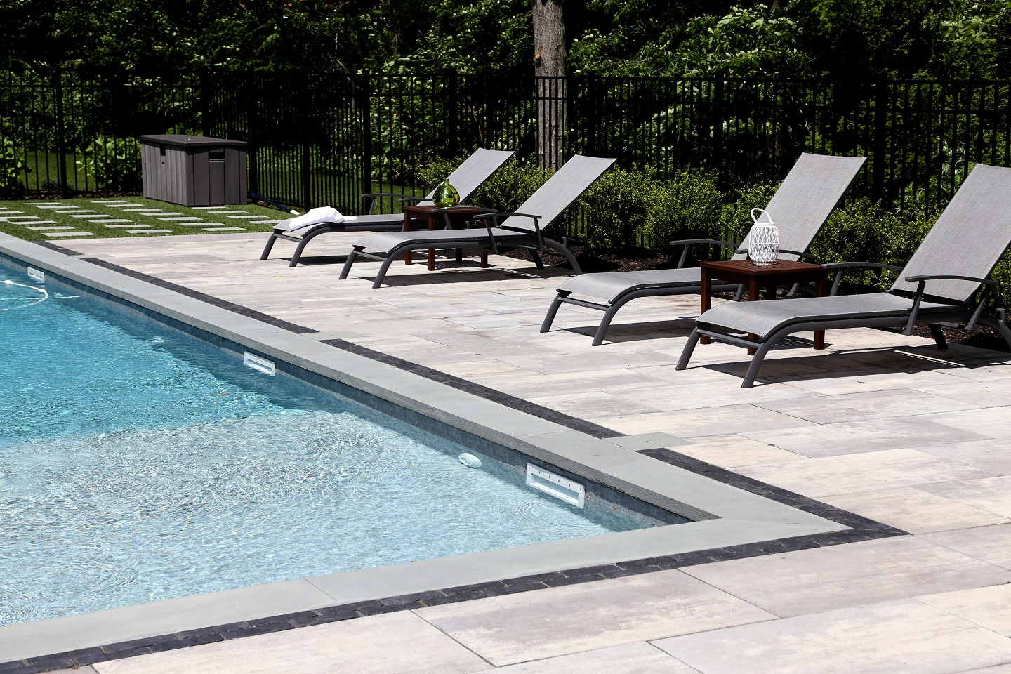 Landscape design with swimming pool in Commack, New York