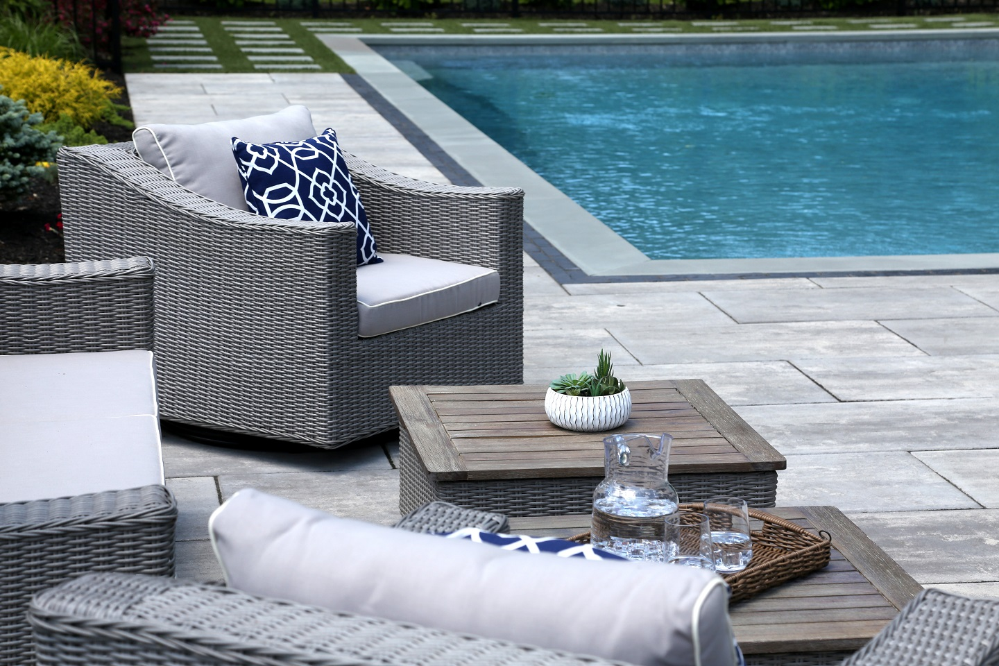 Landscape architecture - patios and swimming pool in Commack NY