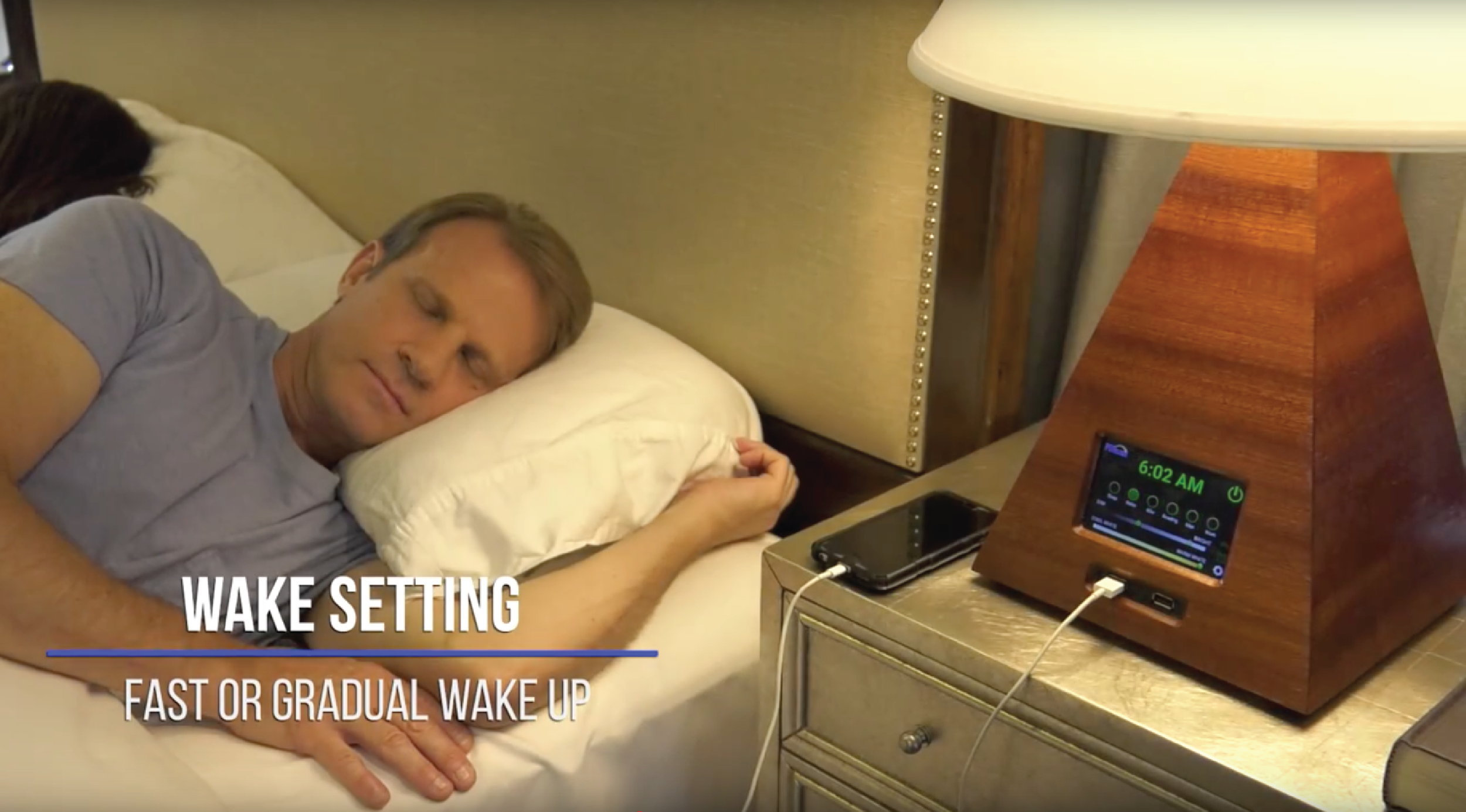 Wake setting: Simulate a sunrise to gently start your day.  (Turn on the optional audible alarm if you sleep like a log.)