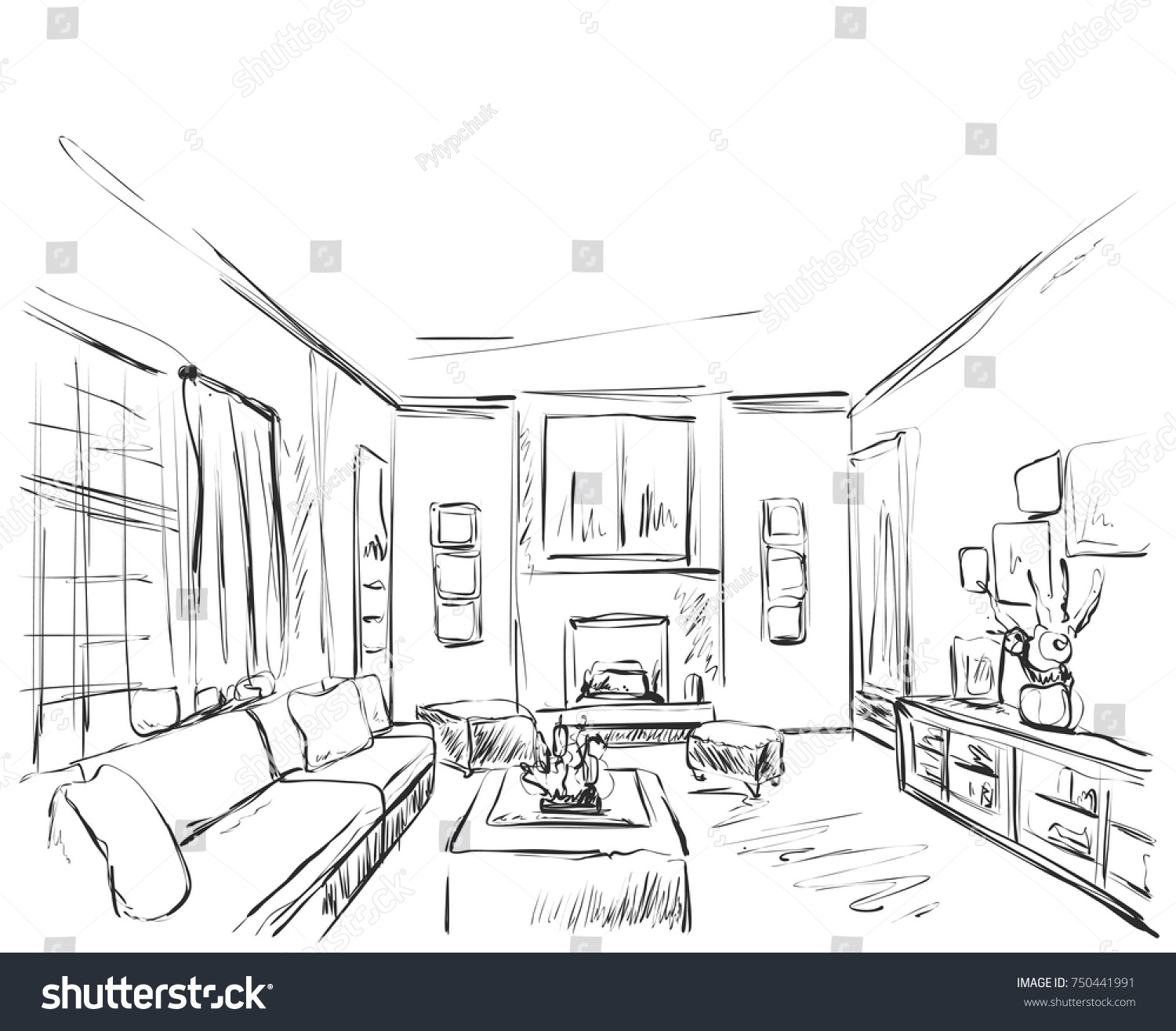 stock-vector-hand-drawn-room-interior-sketch-chair-sofa-table-flowerpot-750441991.jpg