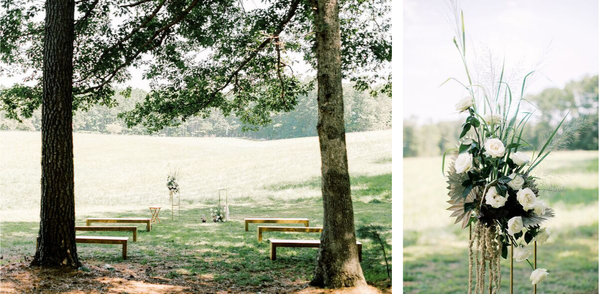 Jordan Maunder Photography | Ceremony Benches by Petal & Oak | Altar Florals by Mood Fleuriste
