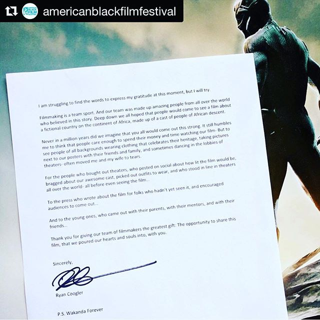 #Repost @americanblackfilmfestival with @get_repost ・・・ #InTheNews...Ryan Coogler Writes Letter Of Gratitude After Black Panther's Record-Breaking Weekend. #WakandaForever #BlackPanther #ABFFAlumni
