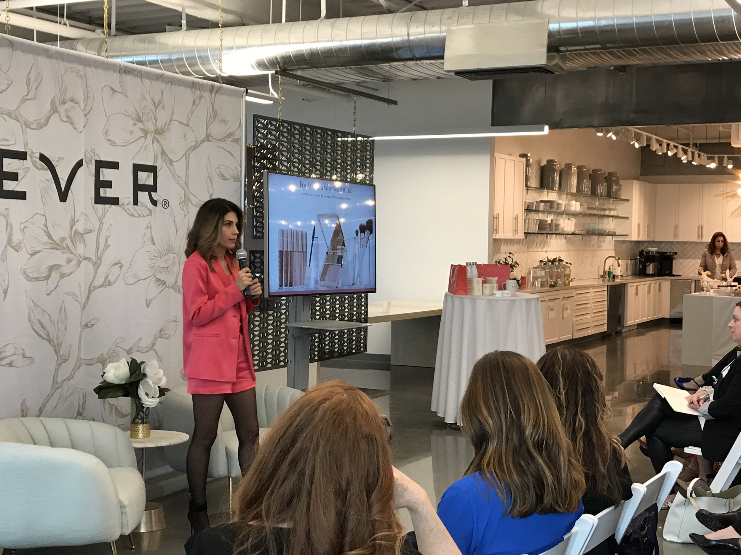 The moment we were all waiting for — our GM Ani gave attendees the first look at EVER Makeup from our San Francisco Home Office (and gave us some serious outfit envy, too)!
