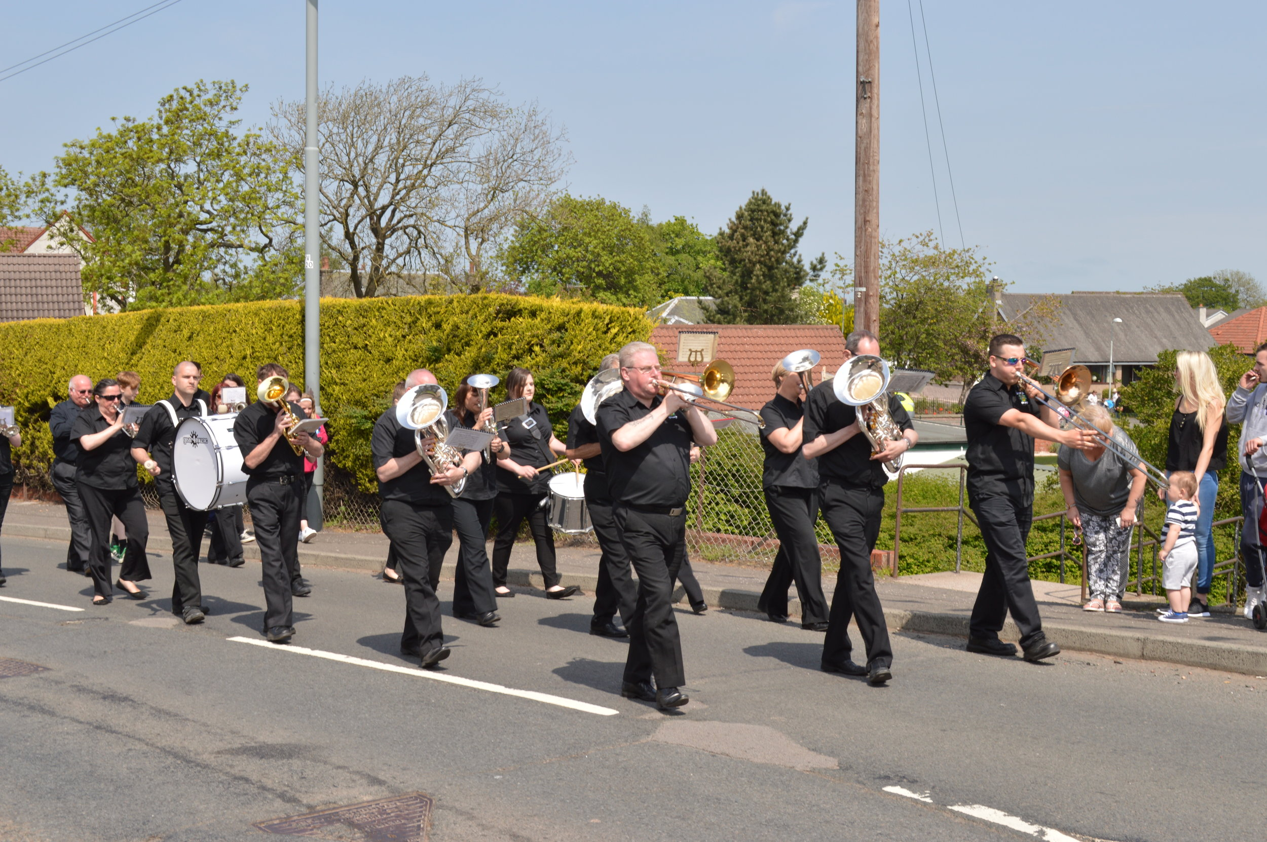 The Band in the parade at Parkhead Children's Gala Day marching to Hermand Park for the start of the races.