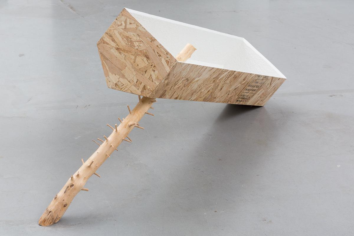 """Untitled (Boiler Spruce)"" | 2018 | OSB, spruce, stucco, flocking | 27 x 62 x 13.5 inches"