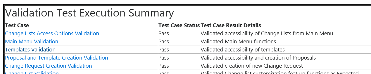 Test Summary Report Generated by the Automation Model