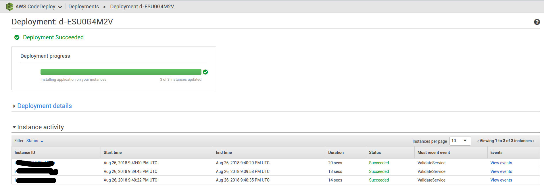 Figure 4 - AWS CodeDeploy Report