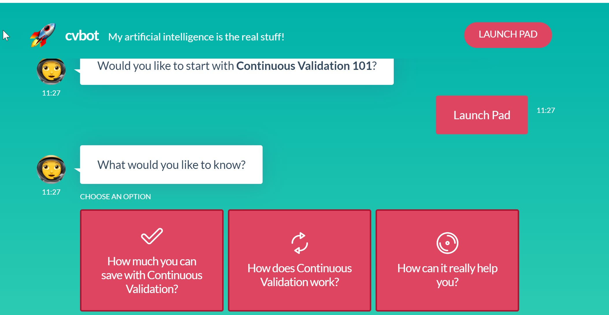 Talk to Continuous Validation Bot