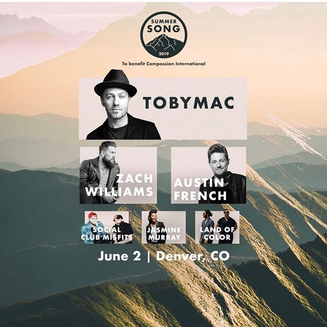 Denver, CO!! Here I come!! Excited to share the stage with some amazing artist this weekend. Come see us! @tobymac @zachwilliamsmusic @socialclubmisfits @jasminemurrayofficial @landofcolormusic