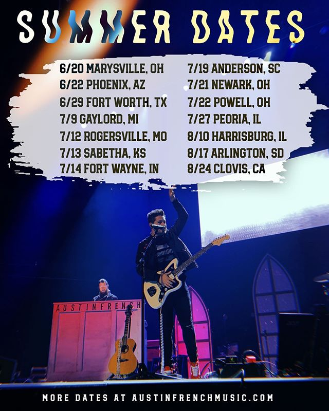 Excited to hit the road this summer to see all of you amazing people! Come say hey!! All dates and more can be found on my website: www.austinfrenchmusic.com  See ya out there fam ✌🏼